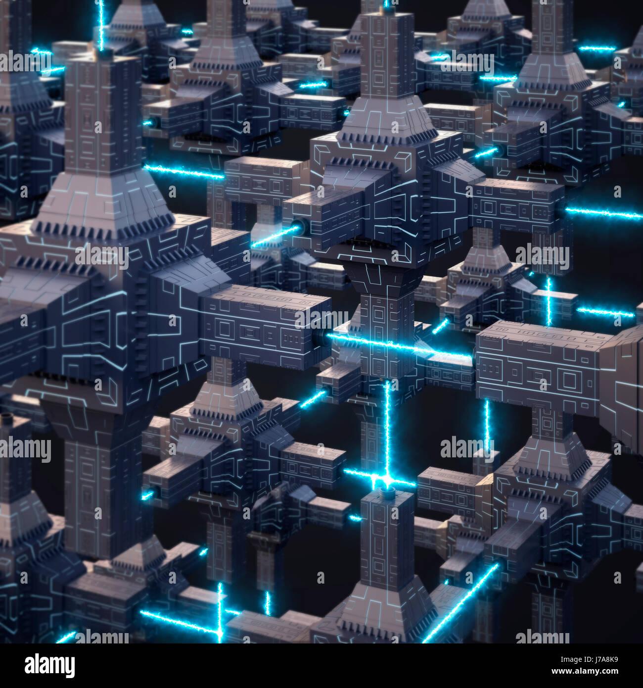Réseau énergie futuriste, rendu 3D Photo Stock