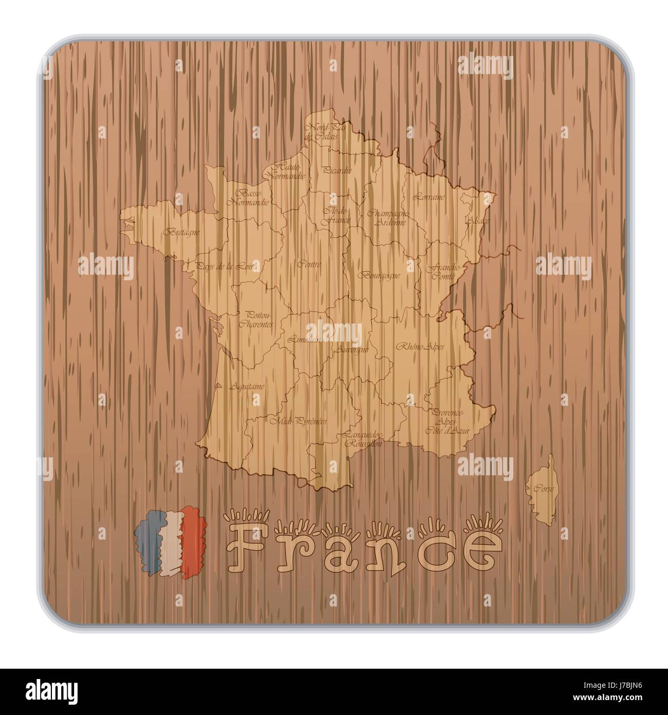 Illustration du bois pays france la cartographie atlas des cartes carte du monde art Photo Stock