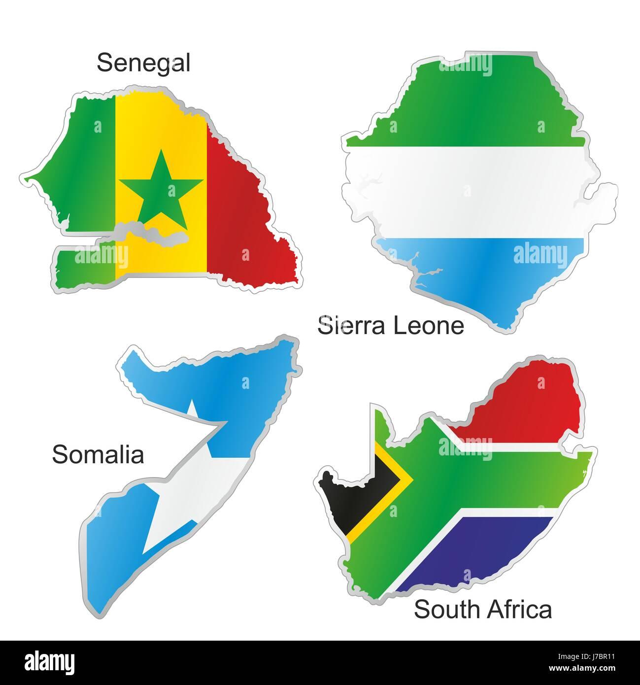Senegal Afrique Du Sud Carte.L Afrique Du Sud Drapeau Senegal Somalie Atlas Des Cartes
