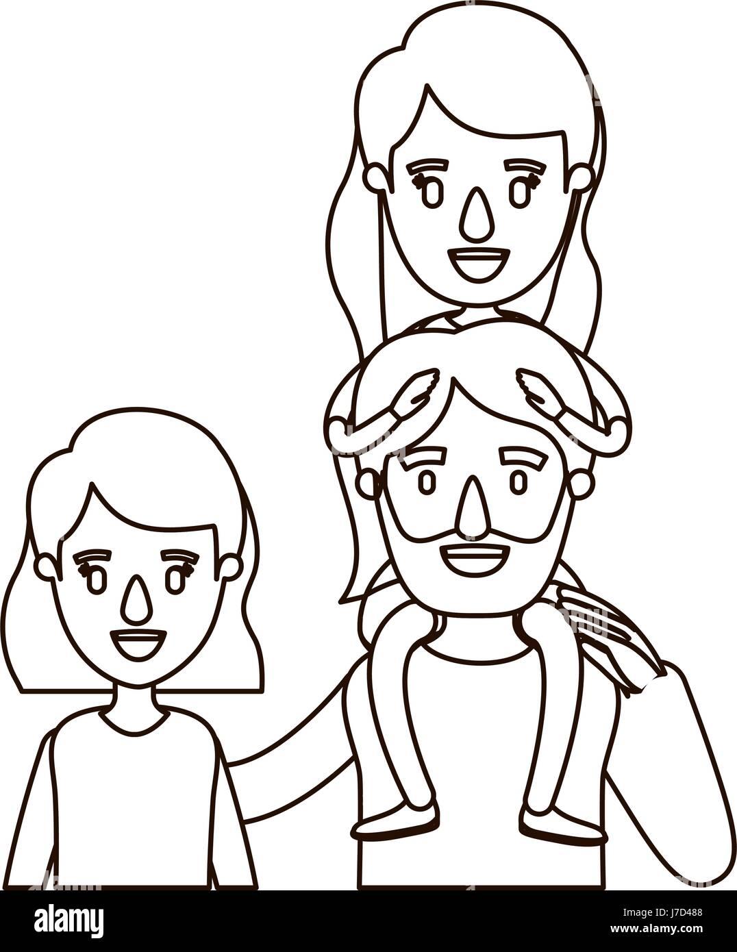 Caricature Contour Dessin Famille Moitié Du Corps Avec Les