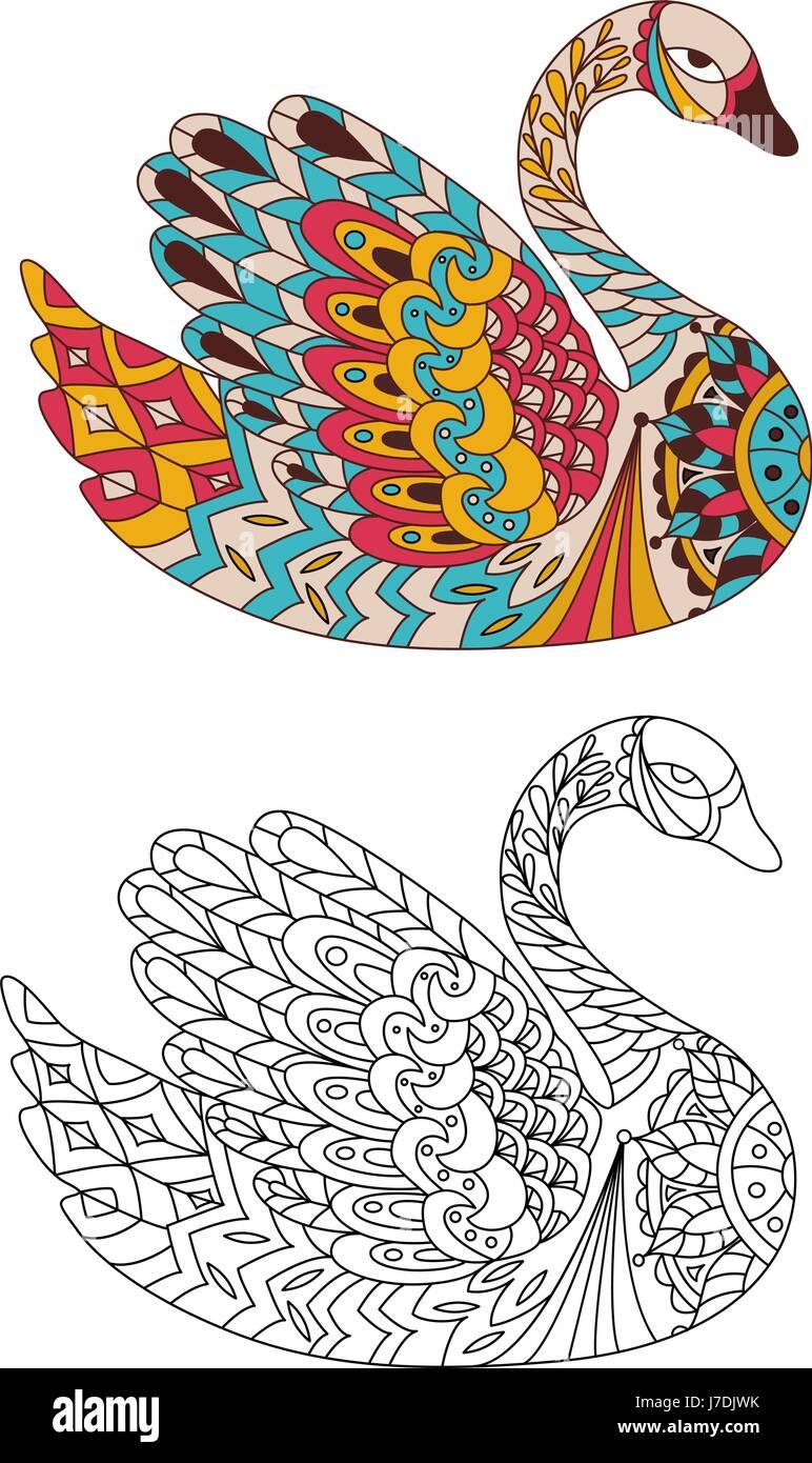 Livre De Coloriage A Imprimer La Page Pour Les Adultes Swan