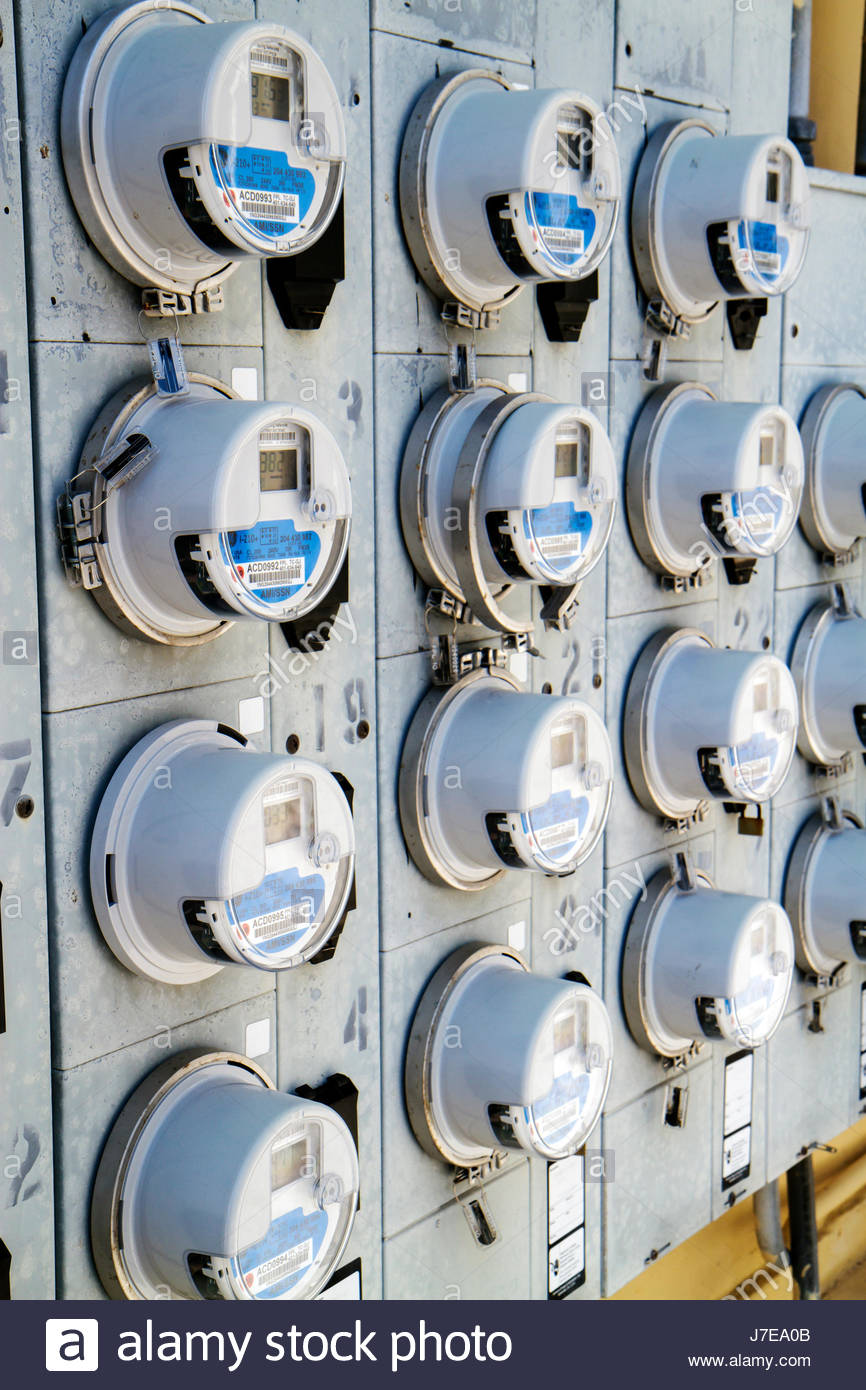 Miami Beach Florida relevés compteurs d'utilisation de l'électricité la conservation de l'énergie Photo Stock