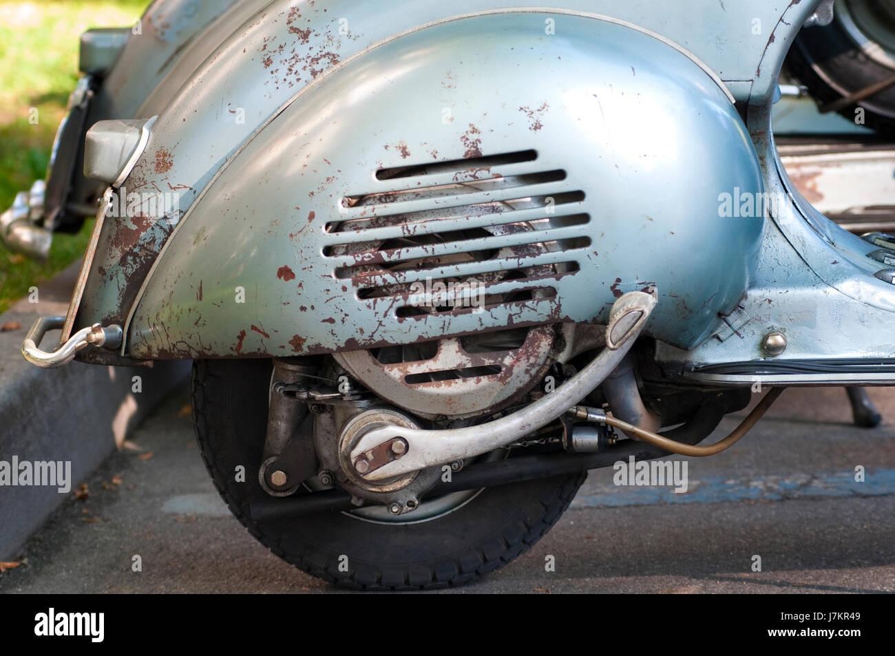 L'Italie, le scooter Vespa,moteur Vintage Banque D'Images
