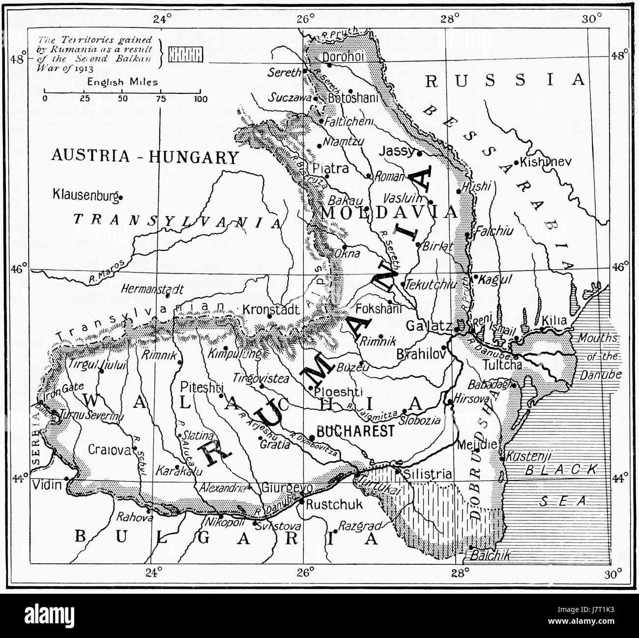 Carte de la Roumanie au début de la PREMIÈRE GUERRE MONDIALE. L'histoire de Hutchinson de l'ONU, Photo Stock