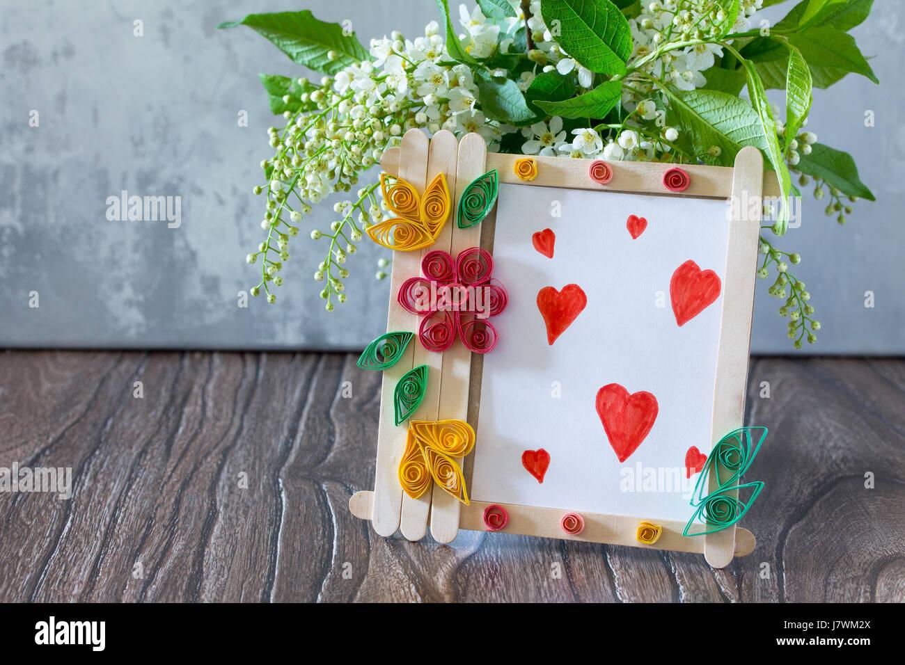 Cadeaux pour enfants à partir de bâtons de bois cadre photo carte