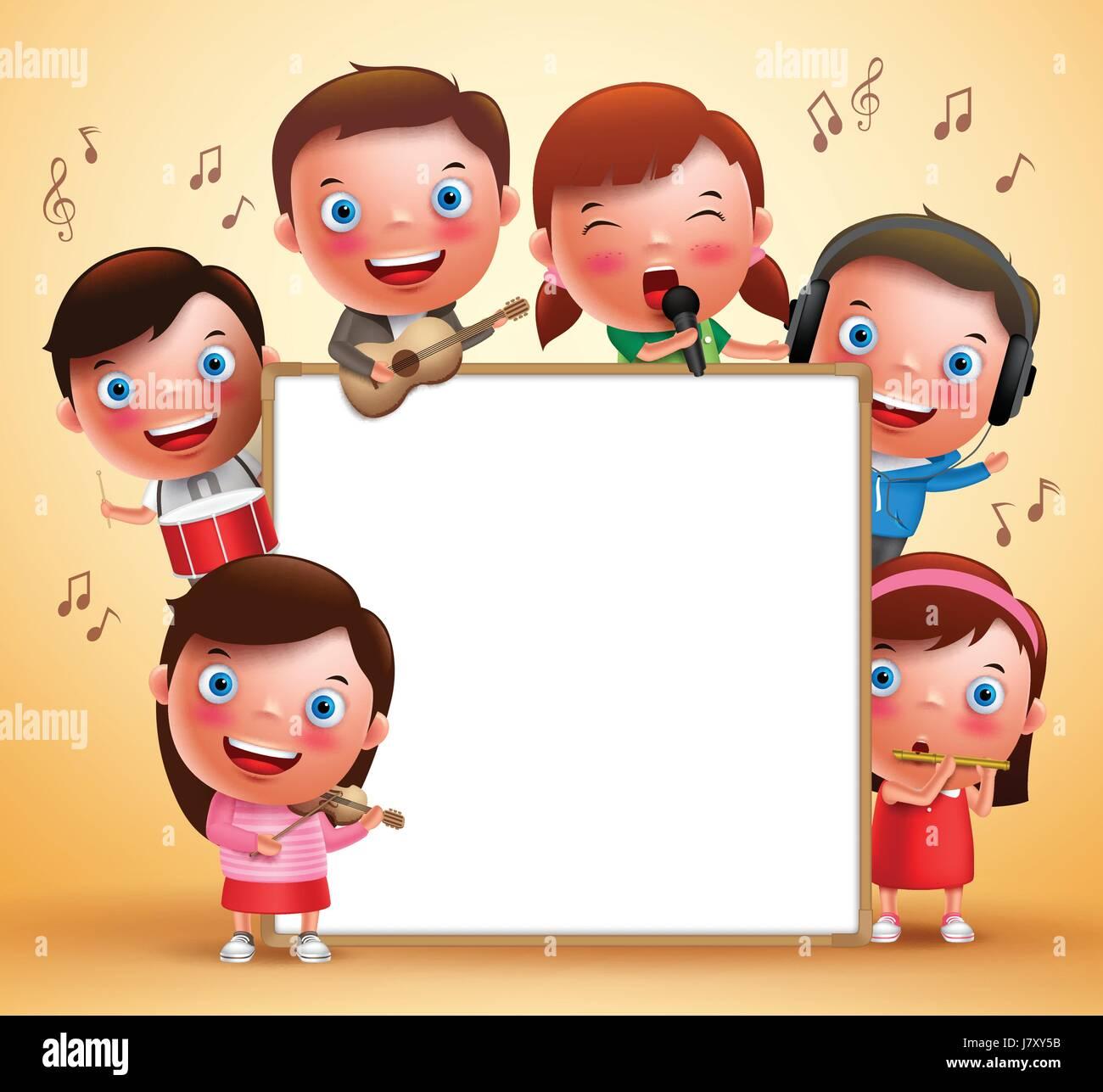 vector enfants personnages qui jouent des instruments de. Black Bedroom Furniture Sets. Home Design Ideas