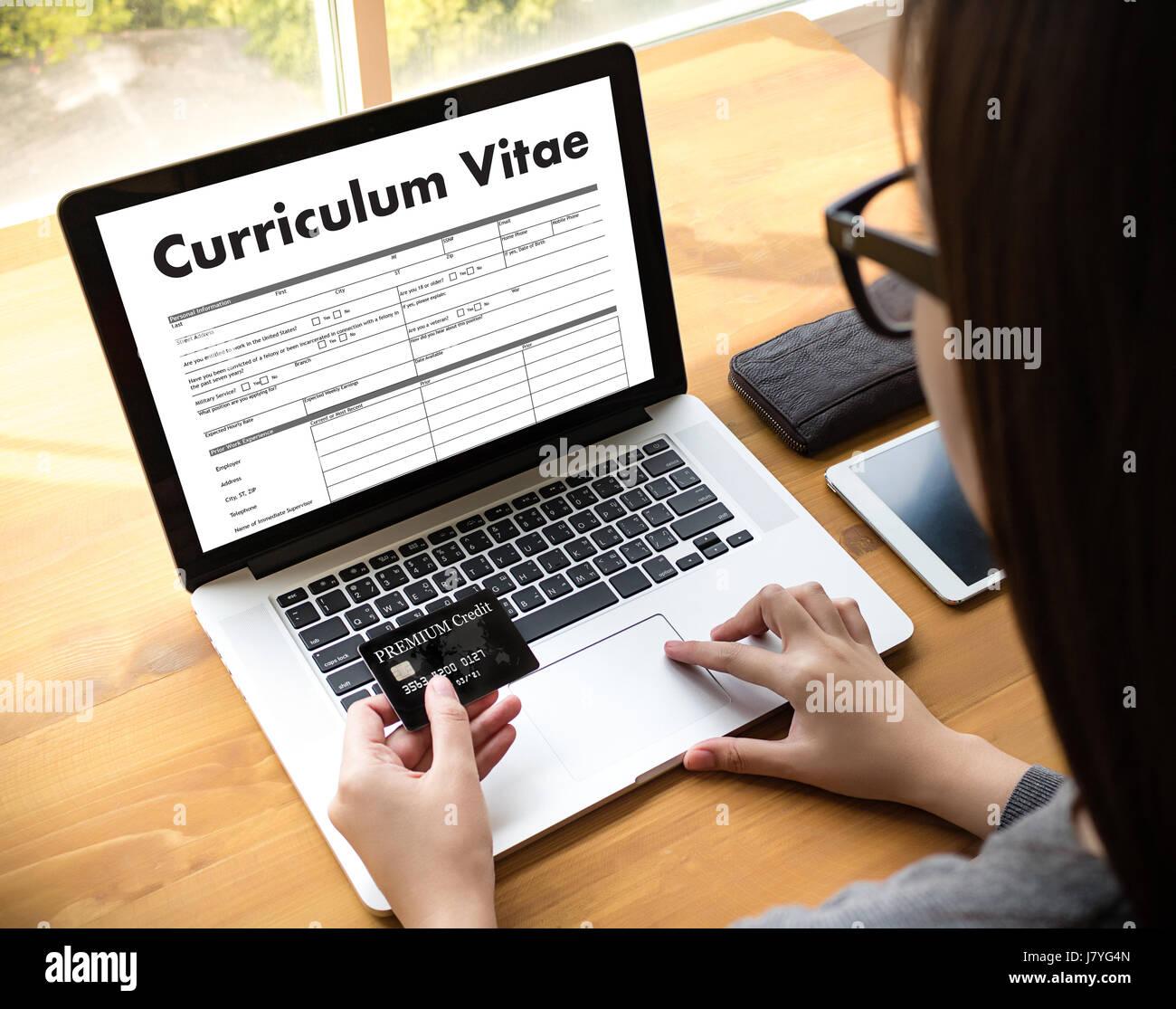 CV - Curriculum Vitae (concept d'entrevue d'emploi avec les entreprises CV CV) , Business Office in job Photo Stock
