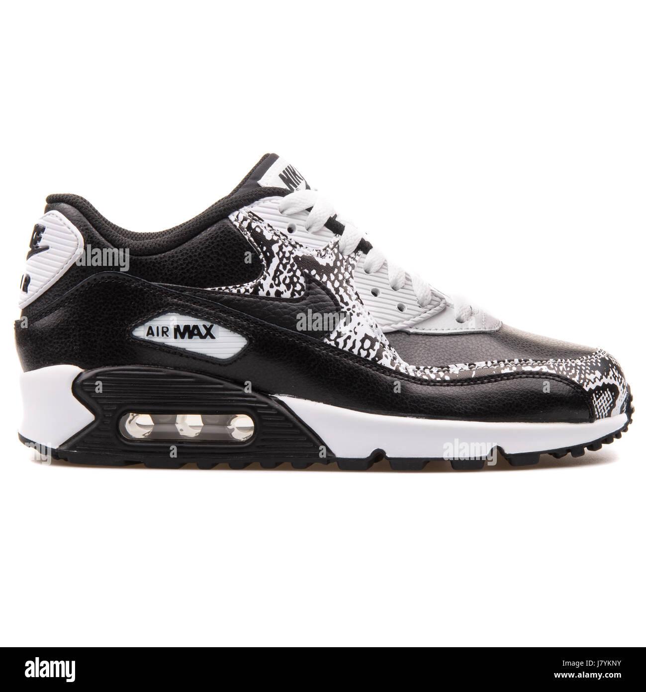 huge discount 155ec d5b84 Nike Air Max 90 Premium LTR (GS) Les jeunes en noir et blanc Sneakers