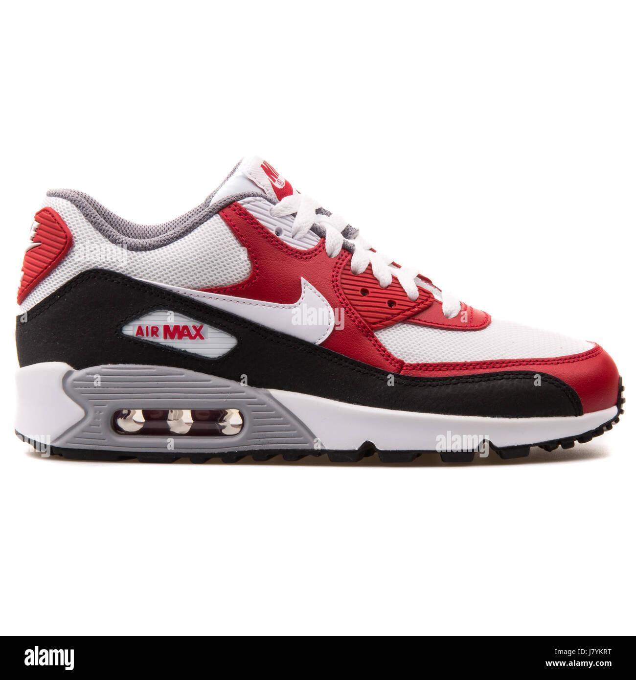 Nike Air Max 90 GS (Mesh) Rouge Blanc et Noir Chaussures de sport jeunesse 70de2412fb03
