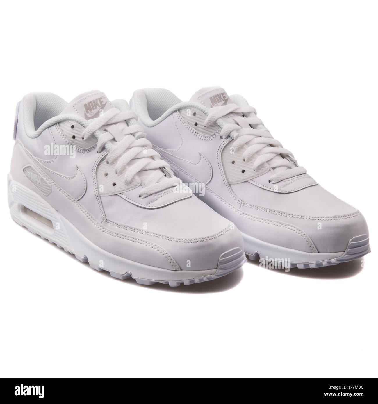 f3fdad2b Nike Air Max 90 Hommes blanc cuir chaussures de sport en cuir - 302519-113