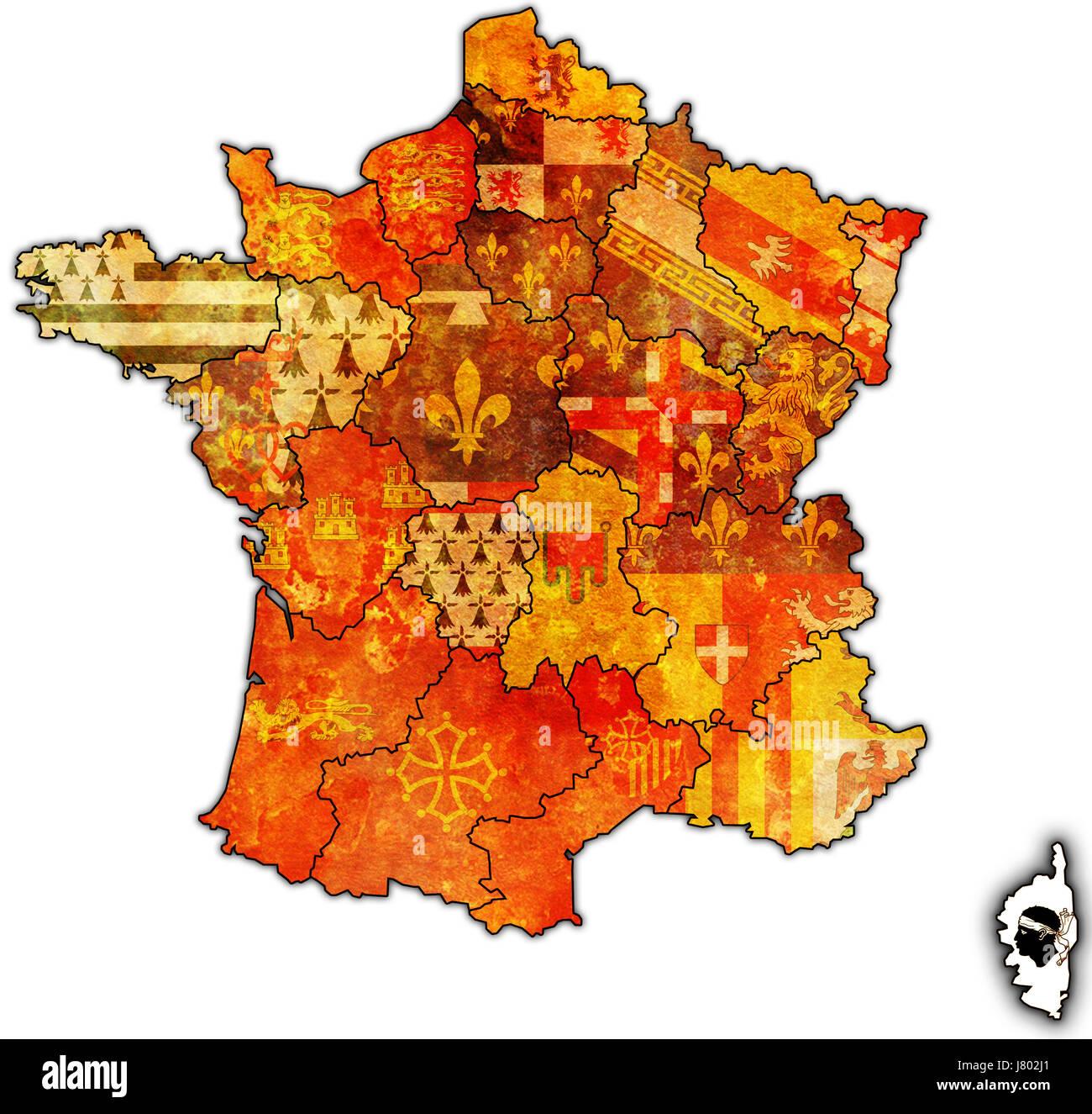 Drapeau France Region Departement De Geographie Atlas Des Cartes Plan De La Scene Politique Photo Stock Alamy