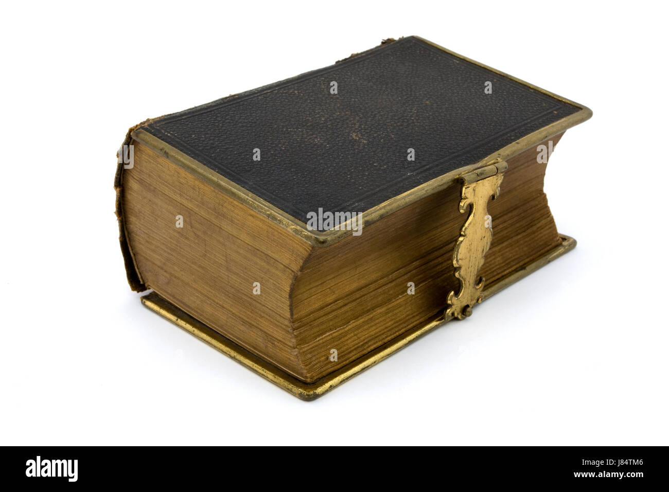 Ancien en cuir isolés de vieux livre isolé d'art historique antique brown Banque D'Images