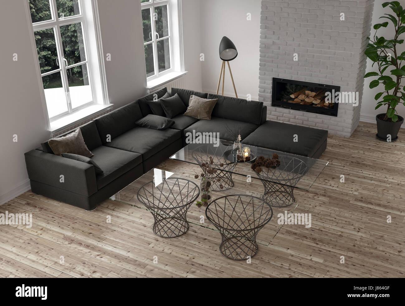Décor minimaliste dans un salon moderne avec un grand canapé ...