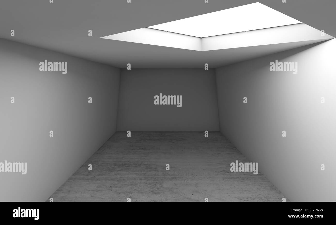 Modèle Du0027architecture Contemporaine Abstraite, Vide Intérieur Arrière Plan.  Sol En Béton, Murs Blancs Et Carrés Dans La Fenêtre Du0027éclairage Au Plafond.