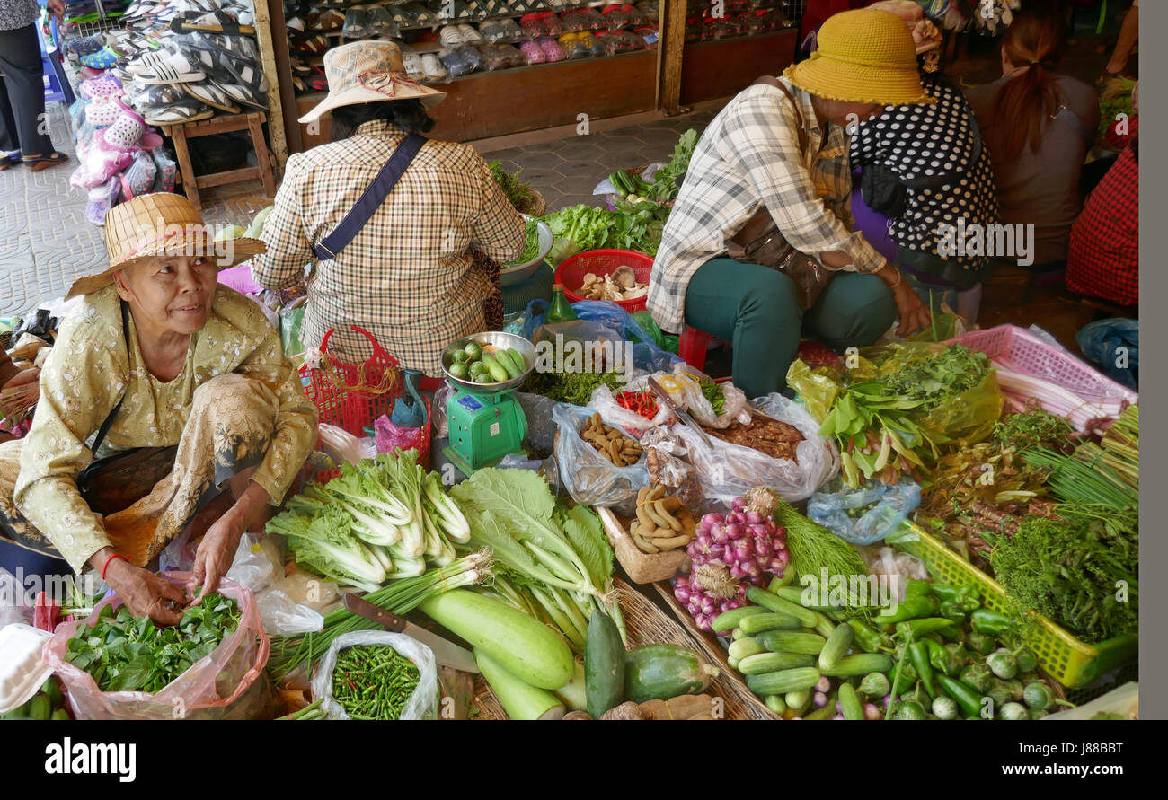 Marché local à Siem Reap, Cambodge Photo Stock