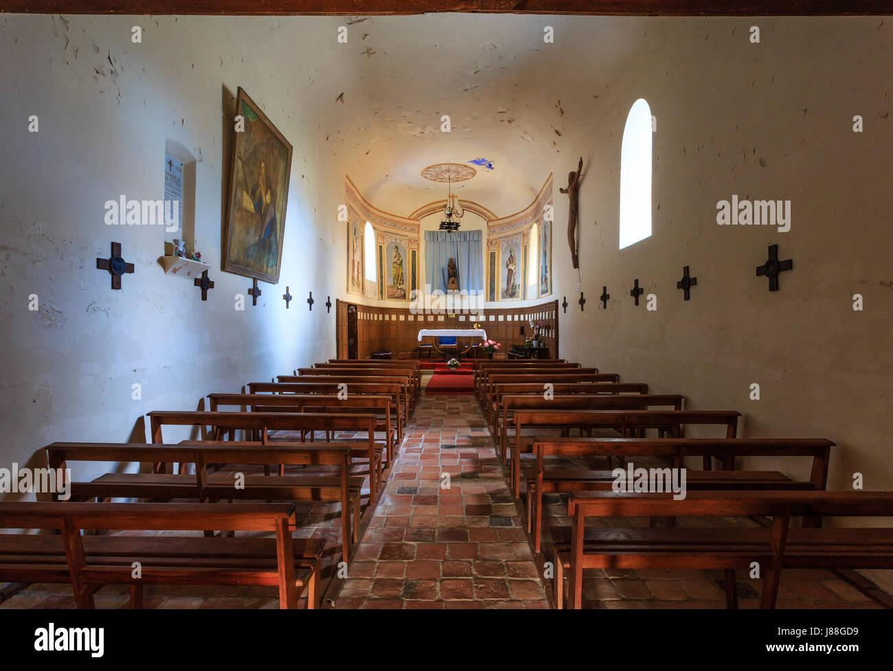 France, landes, bascons, notre dame de la course landaise chapelle Photo Stock