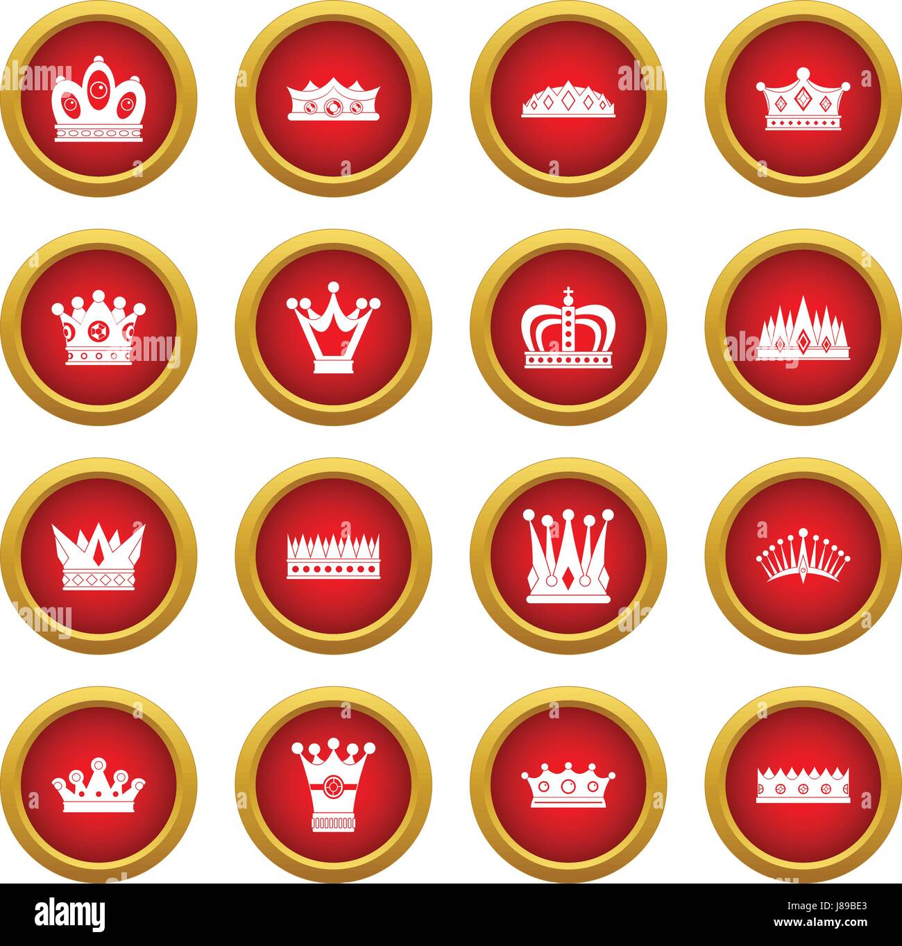 L Icone De La Couronne Cercle Rouge Set Image Vectorielle Stock Alamy