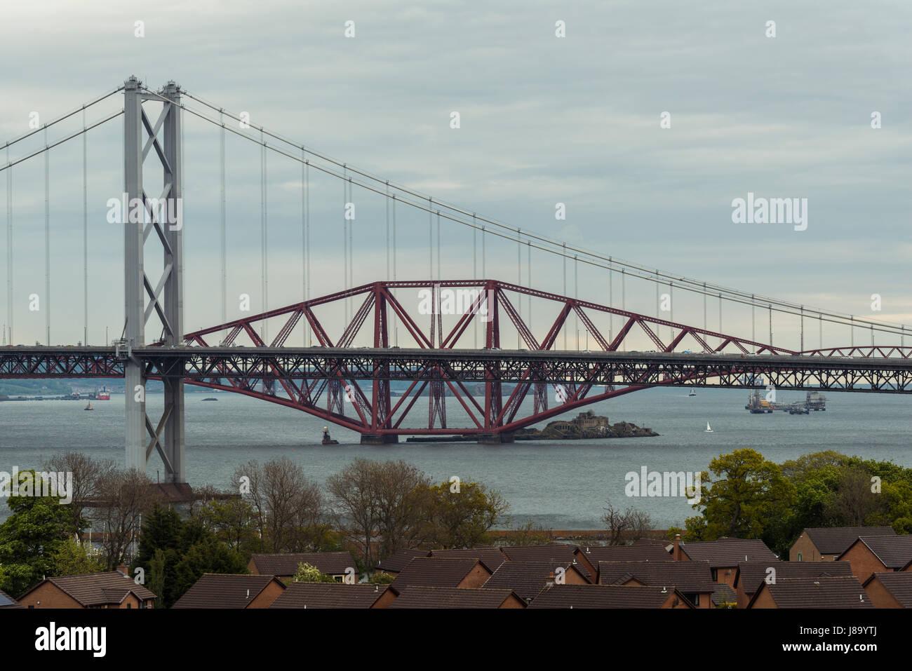 Forth bridges de Queensferry, Lothians, Ecosse, Royaume-Uni Banque D'Images