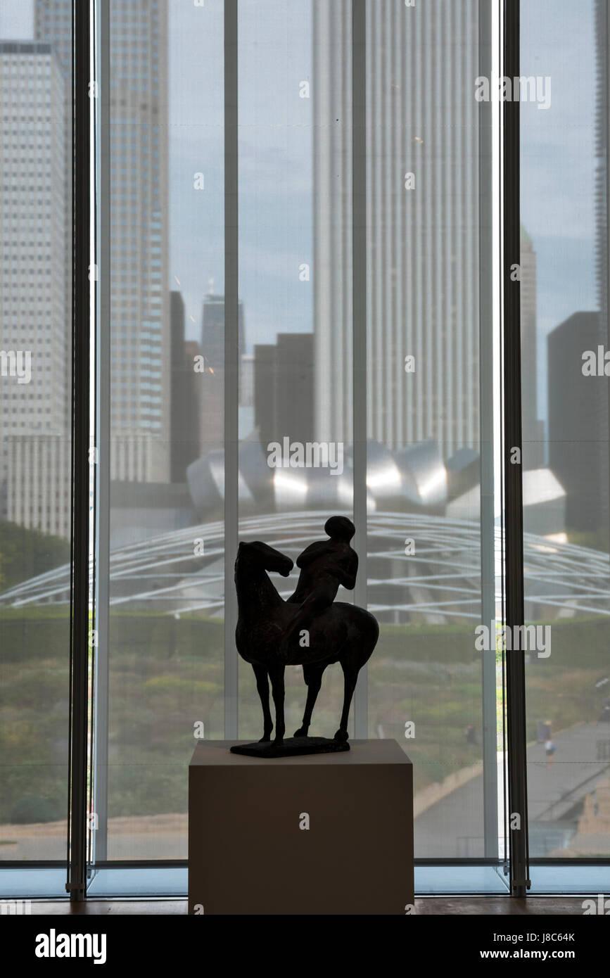Vue de Chicago buidlings et Harris Auditorium de Chicago Art fenêtre Institut USA Photo Stock