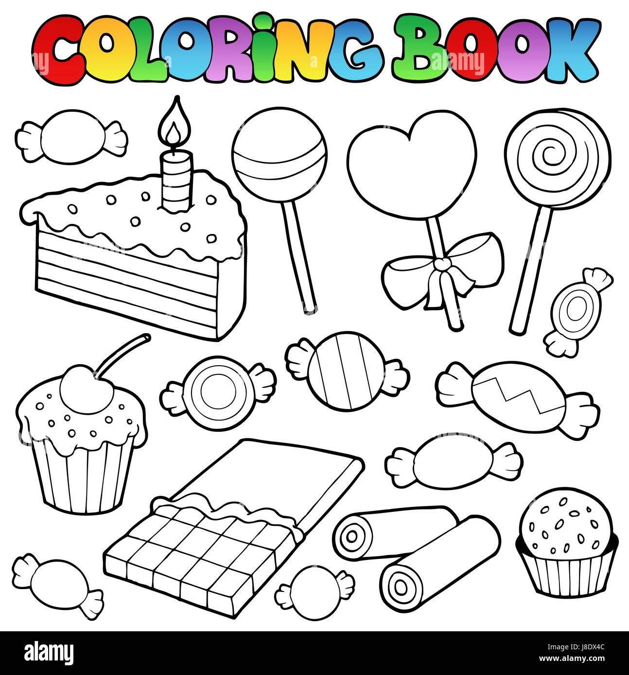 Coloriage Gateau Bonbon.Doux Couleur Gateaux Tartes Gateaux Bonbons Peinture Peinture