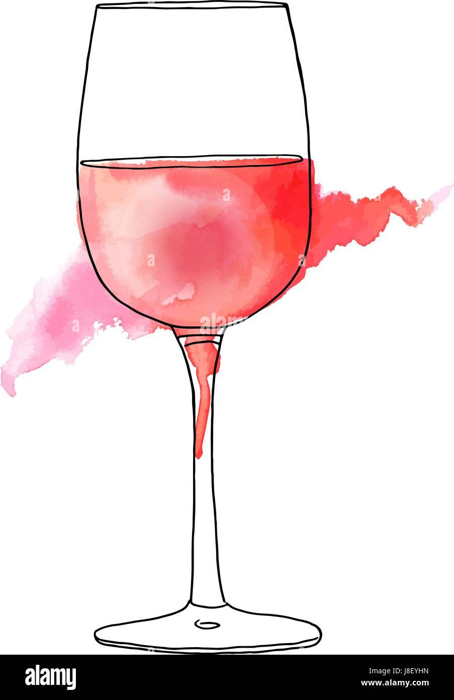 Sc nario et dessin aquarelle de verre de vin rose vecteurs - Dessin de verre ...