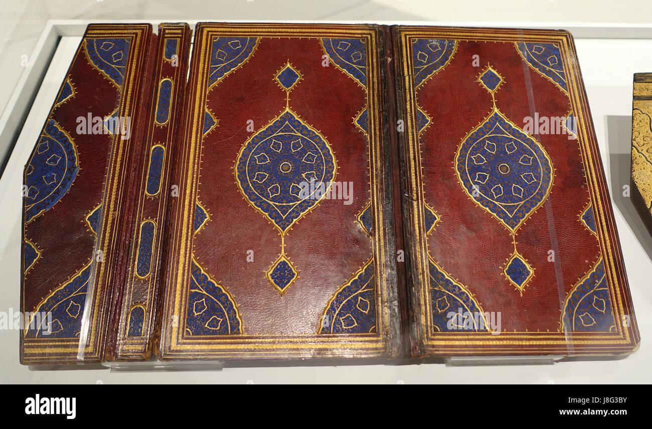 Khamseh par Nezami (cinq Romances) Reliure, Iran, 16e siècle, le cuir, motif estampé doré, l'Aga Photo Stock