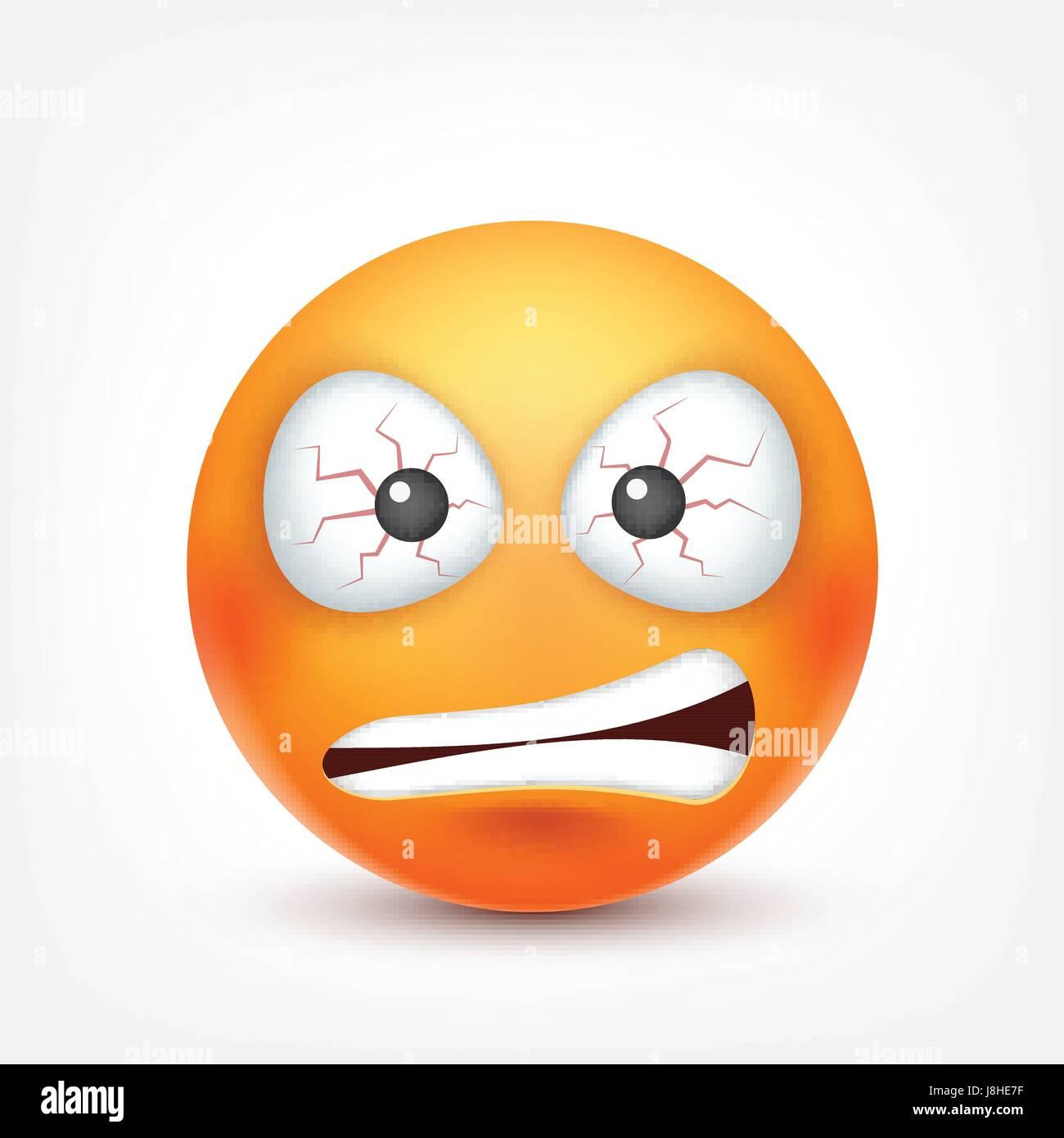 Smiley En Colere Triste Diable Emoticone Redface Avec Emotions L Expression Du Visage Emoji 3d Realiste Funny Cartoon Character L Humeur L Icone Web Vector Illustration Image Vectorielle Stock Alamy