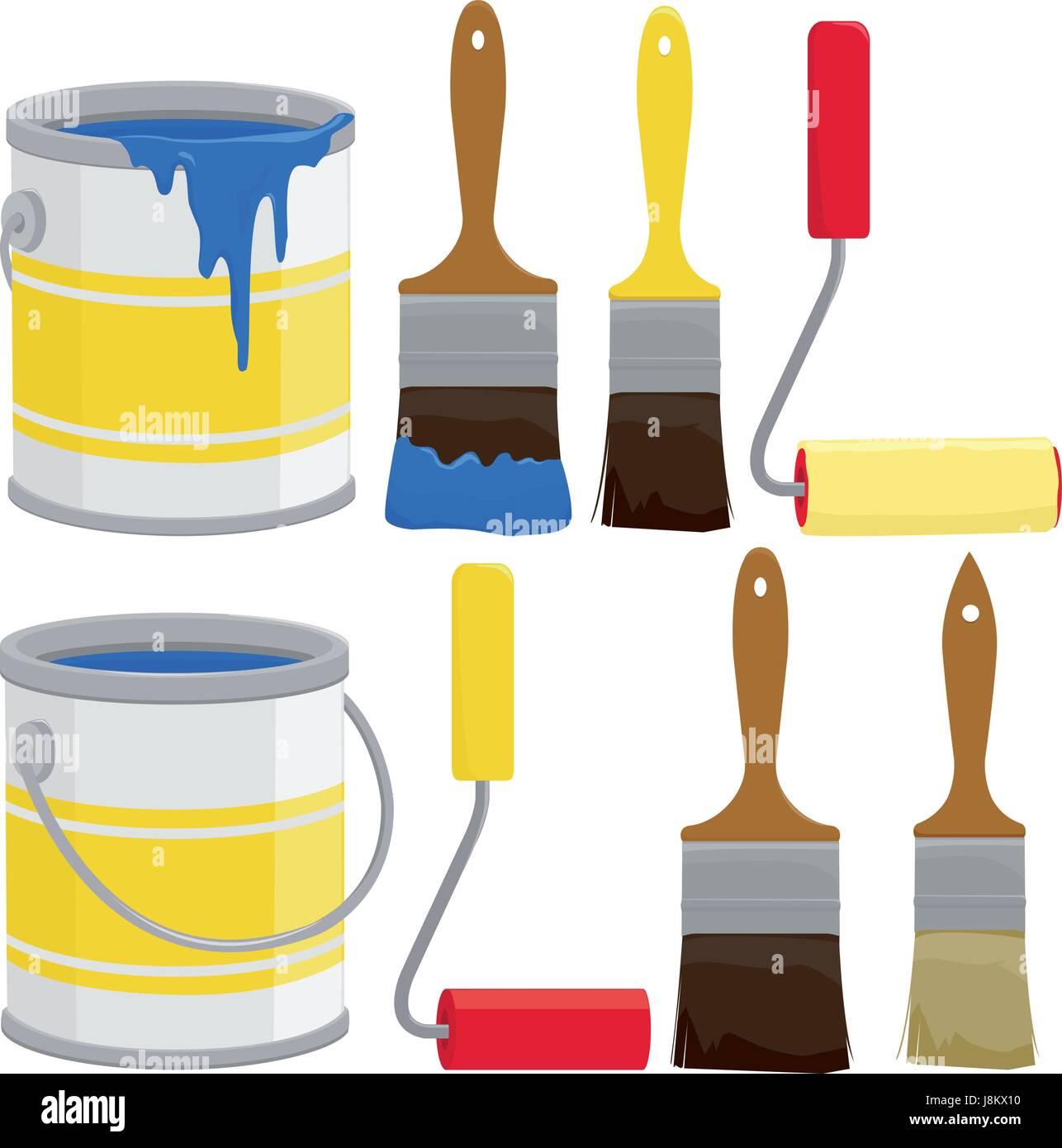 les pots de peinture pinceaux et rouleaux vecteurs et illustration image vectorielle. Black Bedroom Furniture Sets. Home Design Ideas