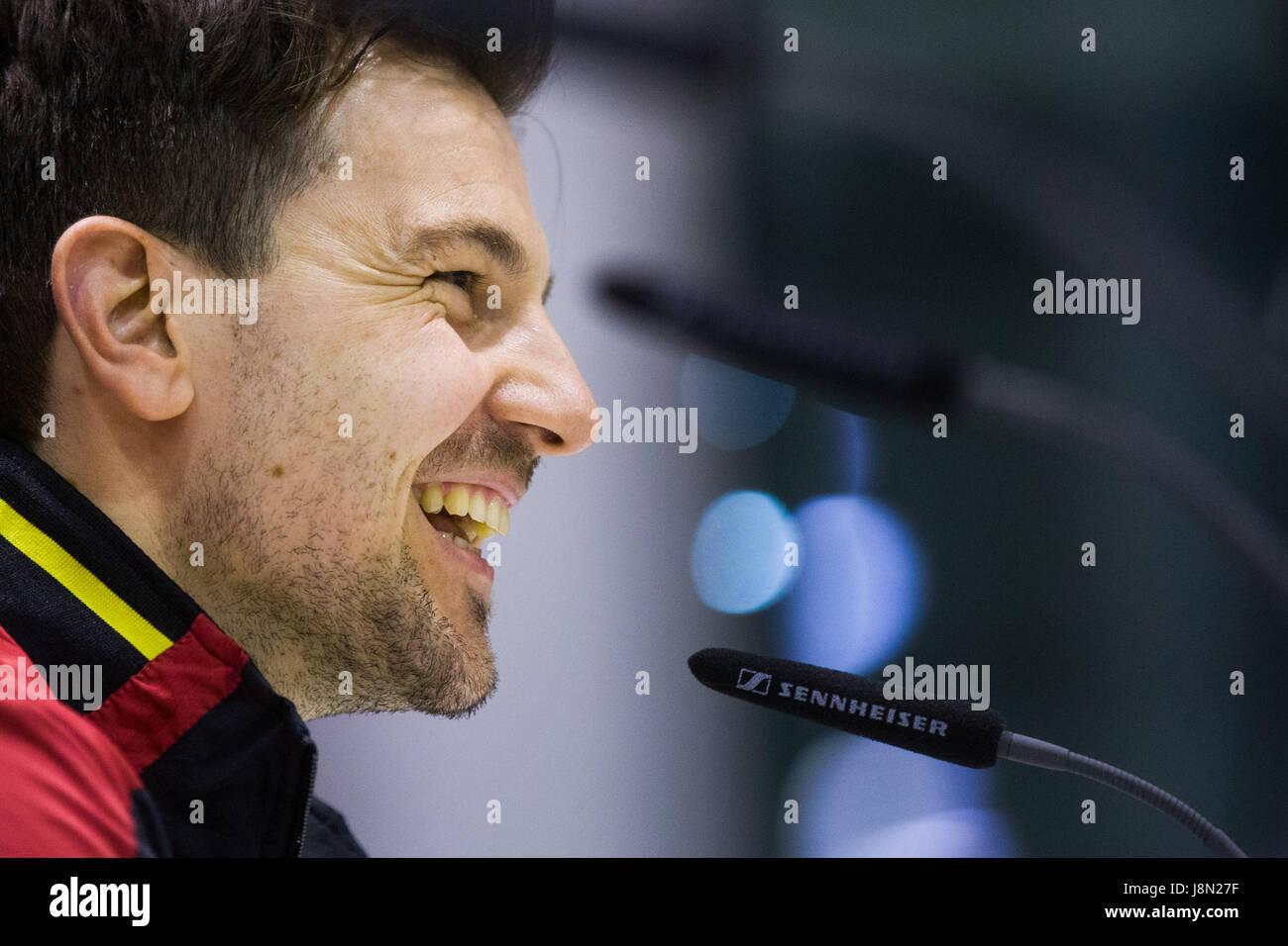 Timo Boll de l'Allemagne lors d'une conférence de presse au Tennis de Table Championnats du monde à Photo Stock
