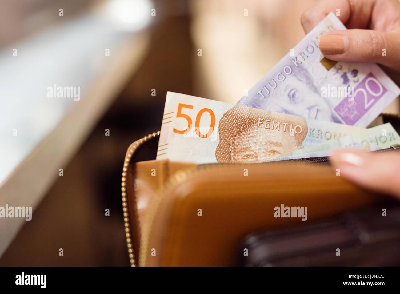 La tenue d'une femme porte-monnaie avec des billets en euros Banque D'Images