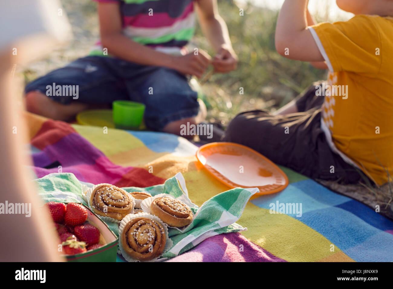 Enfants (4-5, 10-11) having picnic on beach Banque D'Images