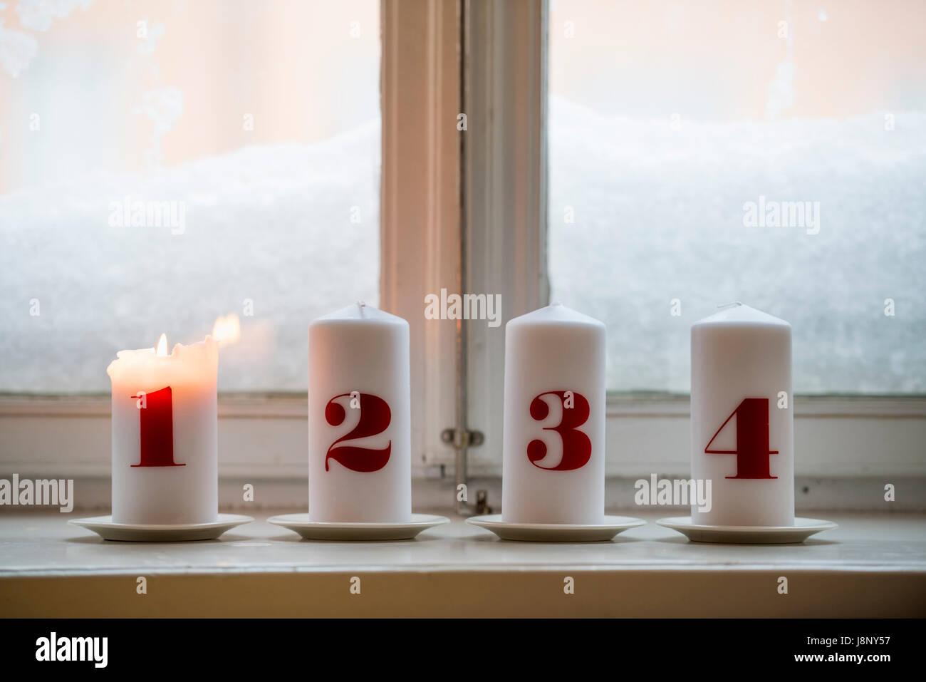 Bougies numérotées, un incendie Banque D'Images