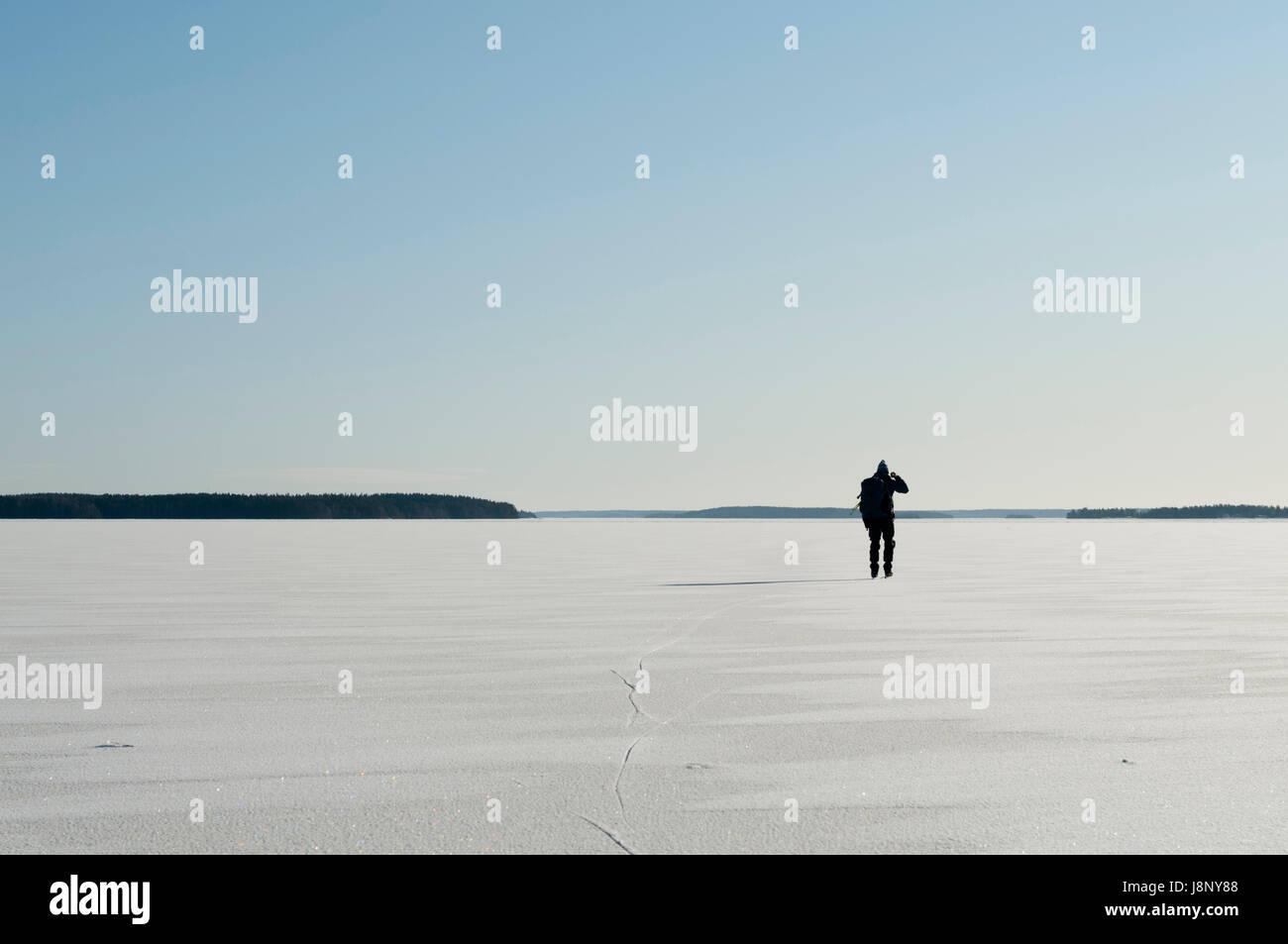 Randonneur en hiver Banque D'Images