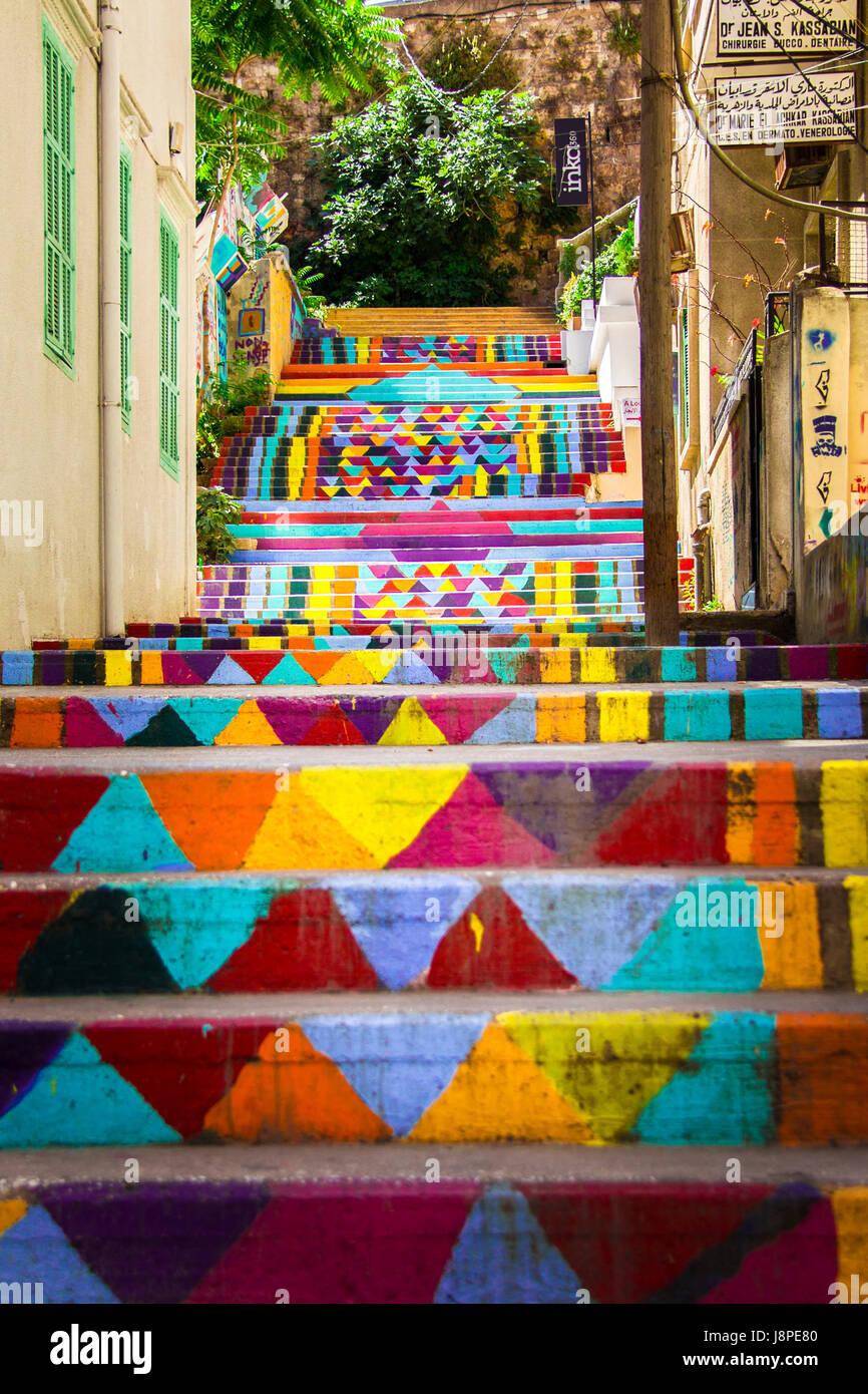 Escaliers dans les rues de Mar Mikhael, Beyrouth Photo Stock
