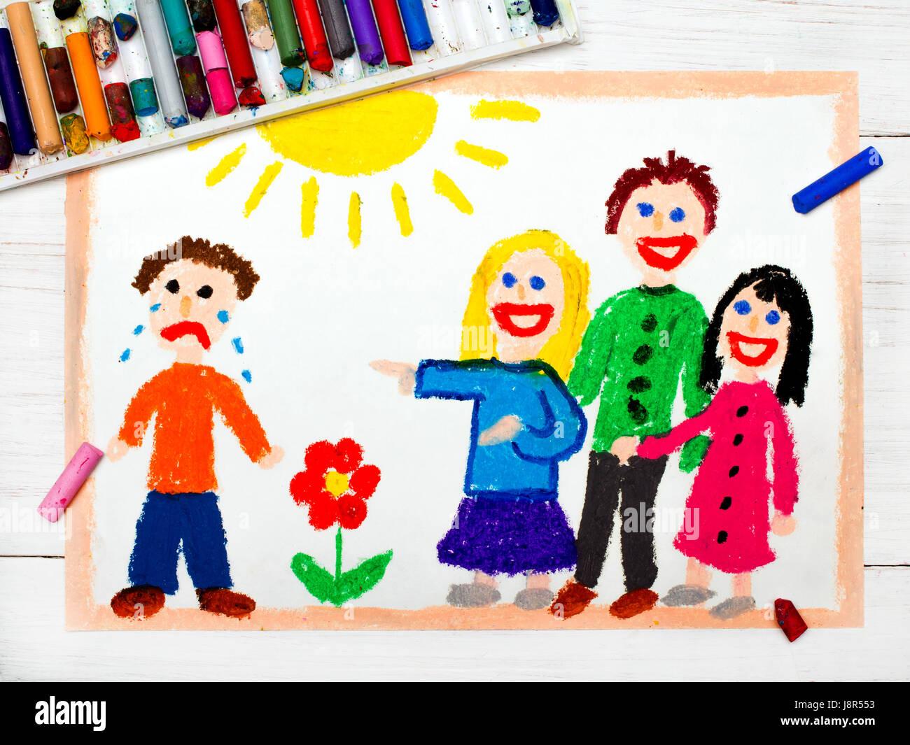 Dessin color groupe d 39 enfants rire un gar on la - Dessin colore ...