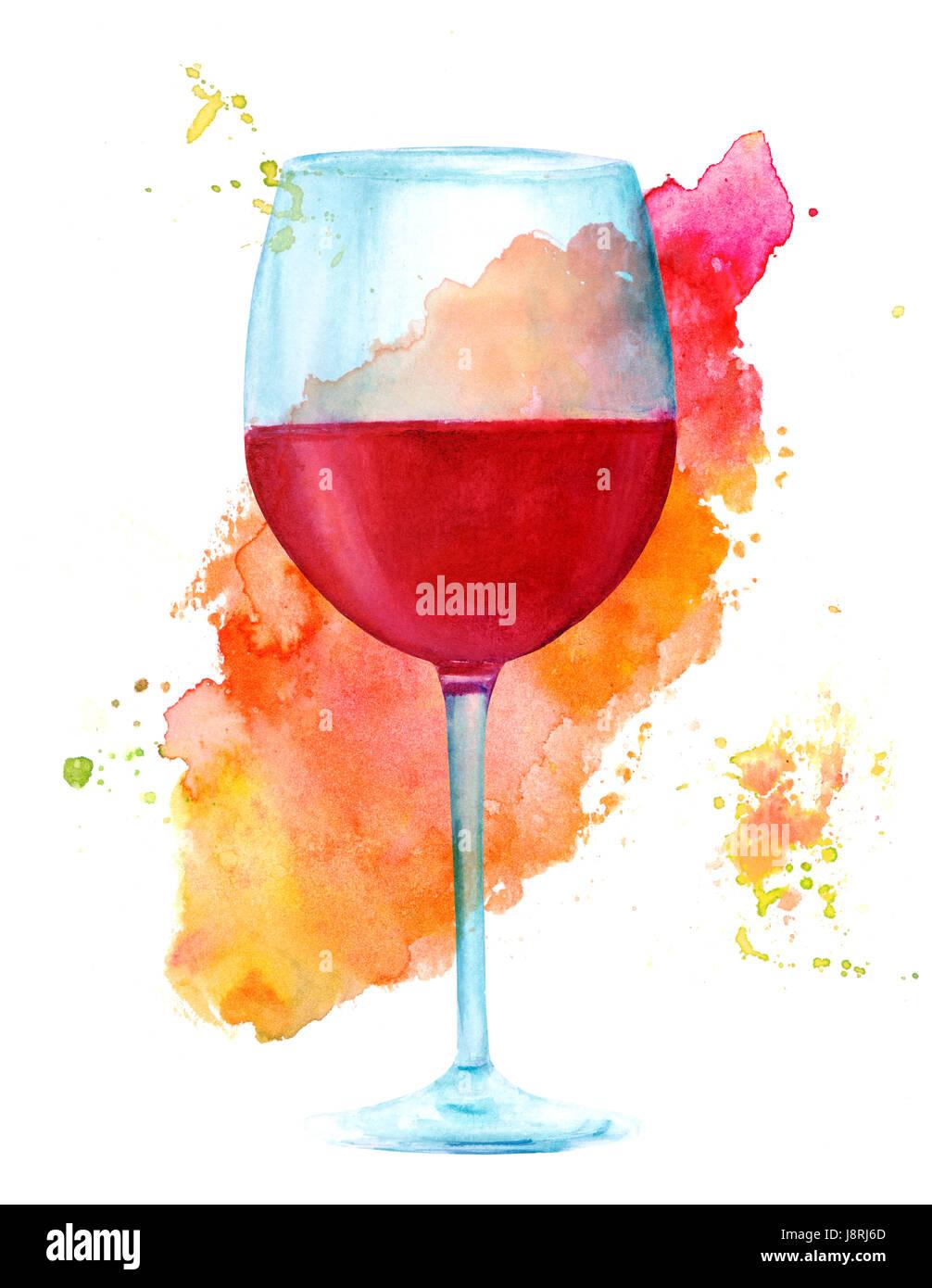 Une aquarelle dessin d 39 un verre de vin rouge peintes la - Dessin de verre ...