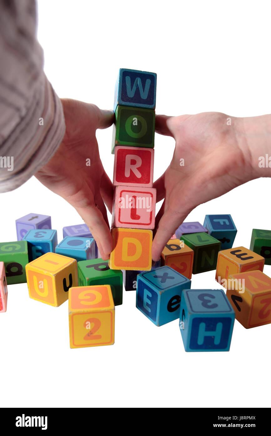 Part, les mains, l'éducation, monde, planète, la terre, le monde, l'enfance, l'alphabet, Banque D'Images