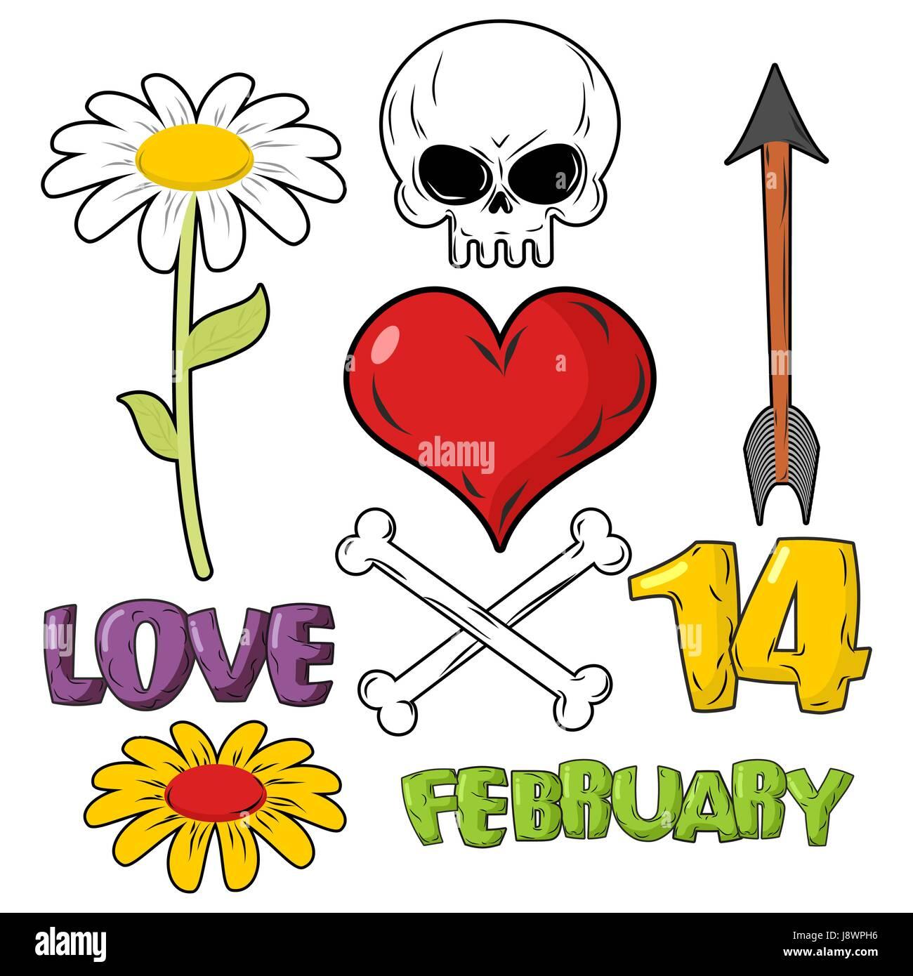 Set Pour La Saint Valentin Le Crane Et Le Cœur L Amour Et 14