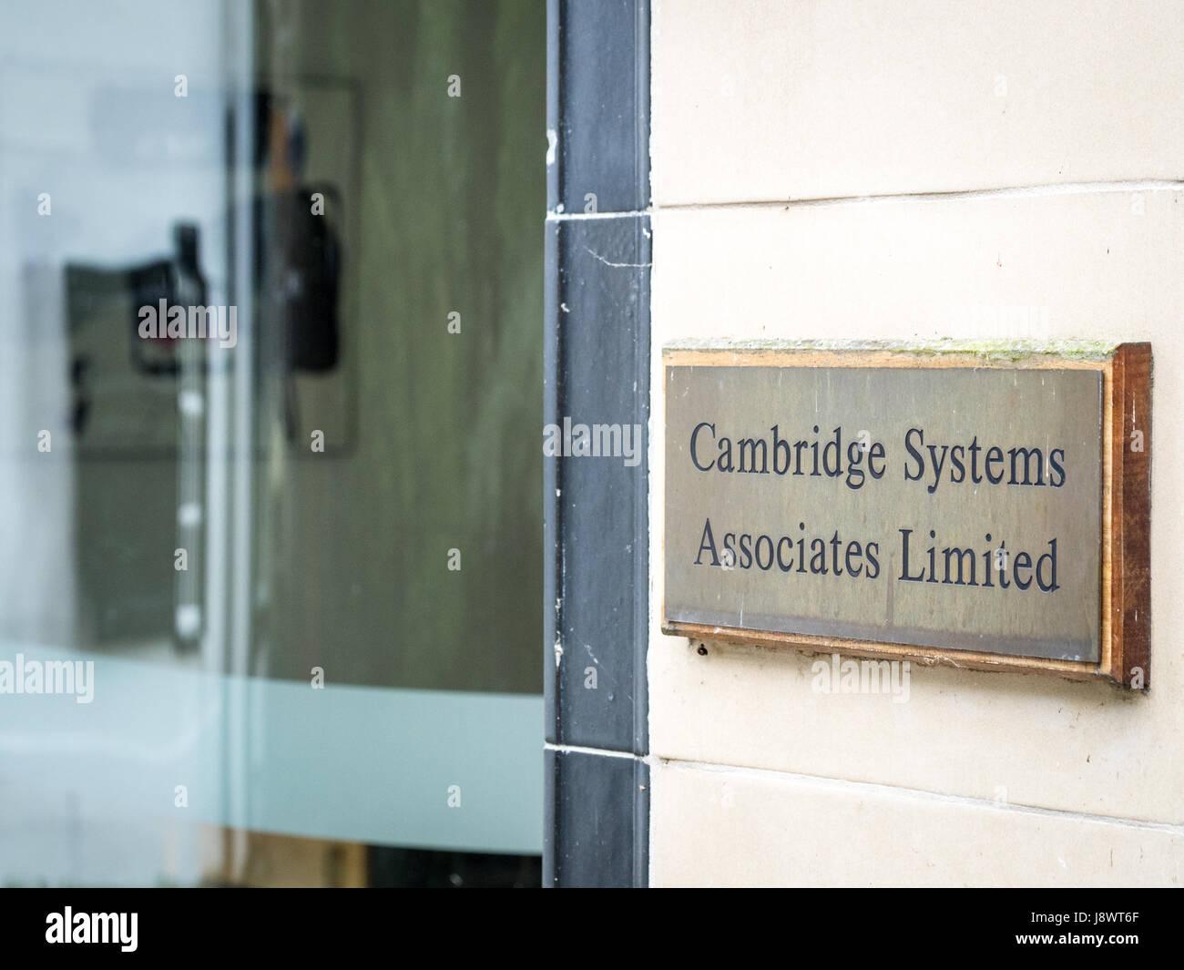 Inscrivez-vous à l'extérieur de la Cambridge Systems Associates Limited Bureaux en Portugal, Cambridge, Photo Stock