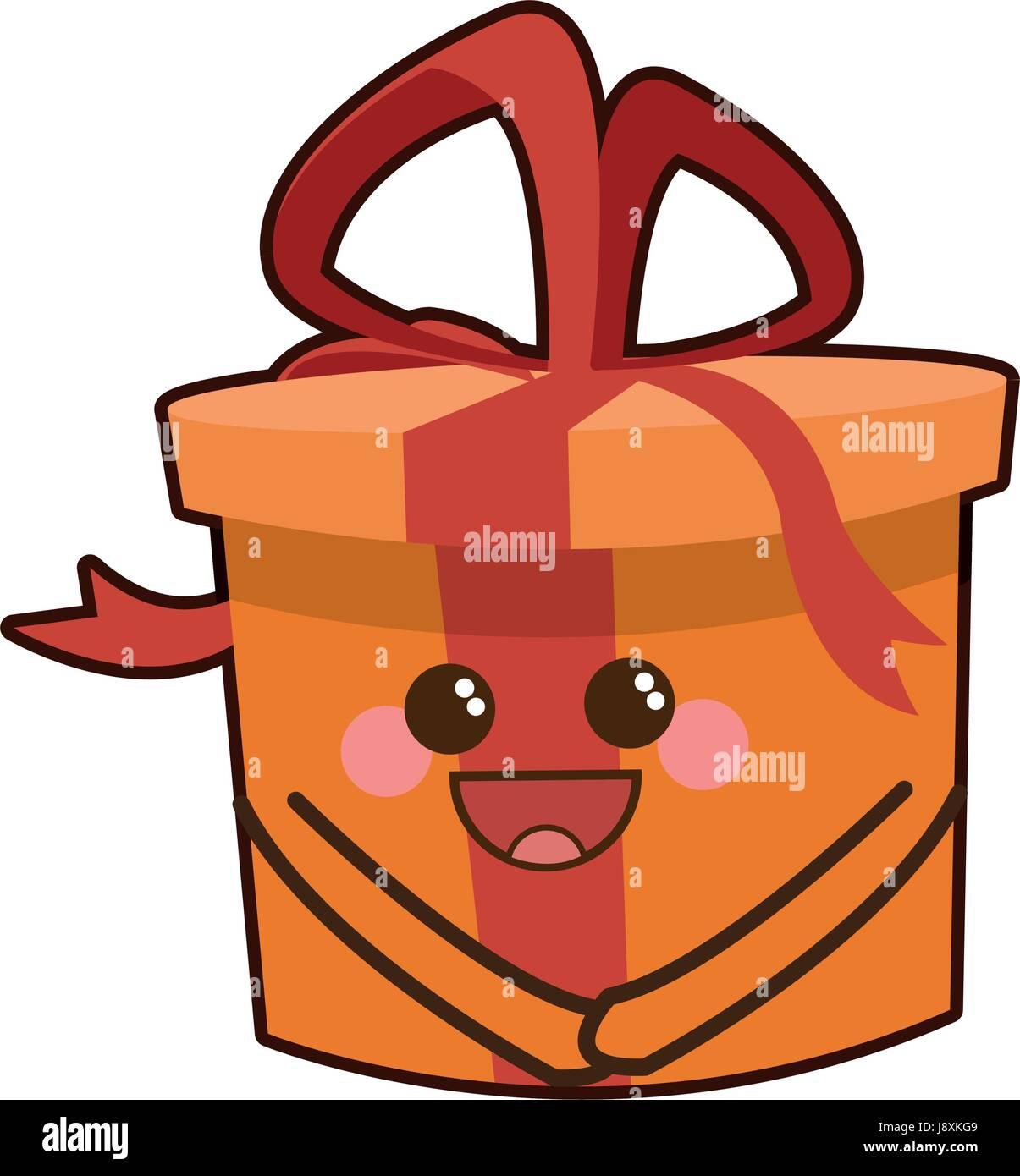Boîte Cadeau Kawaii Célébration Fête Icône Dessin Animé