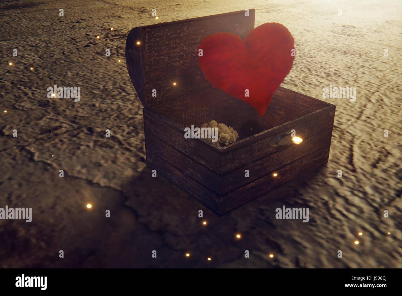 Le rendu 3d du trésor en bois et tombé red heart Banque D'Images