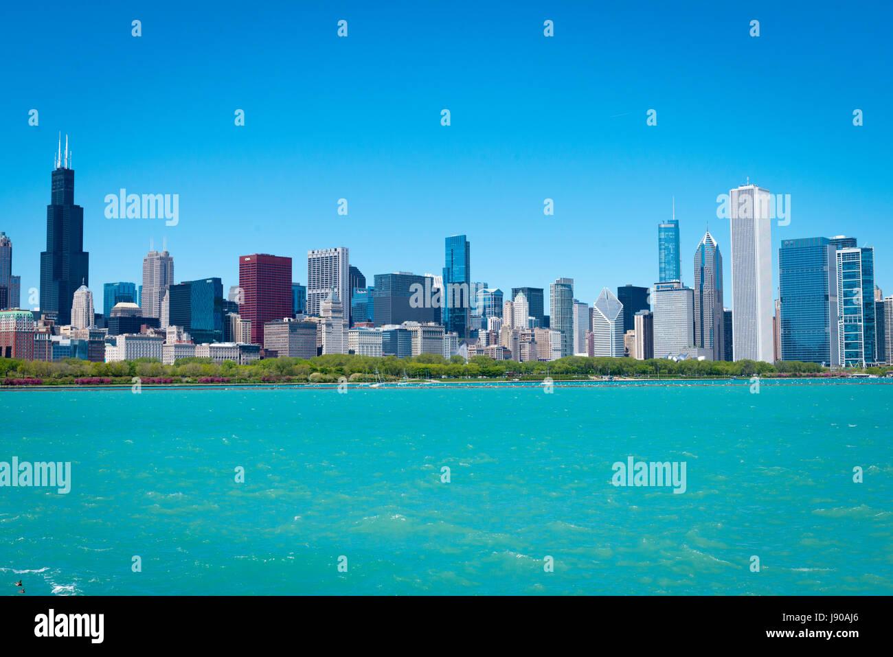 Chicago Illinois près de Côté Sud à l'Est de la solidarité panorama paysage urbain Photo Stock