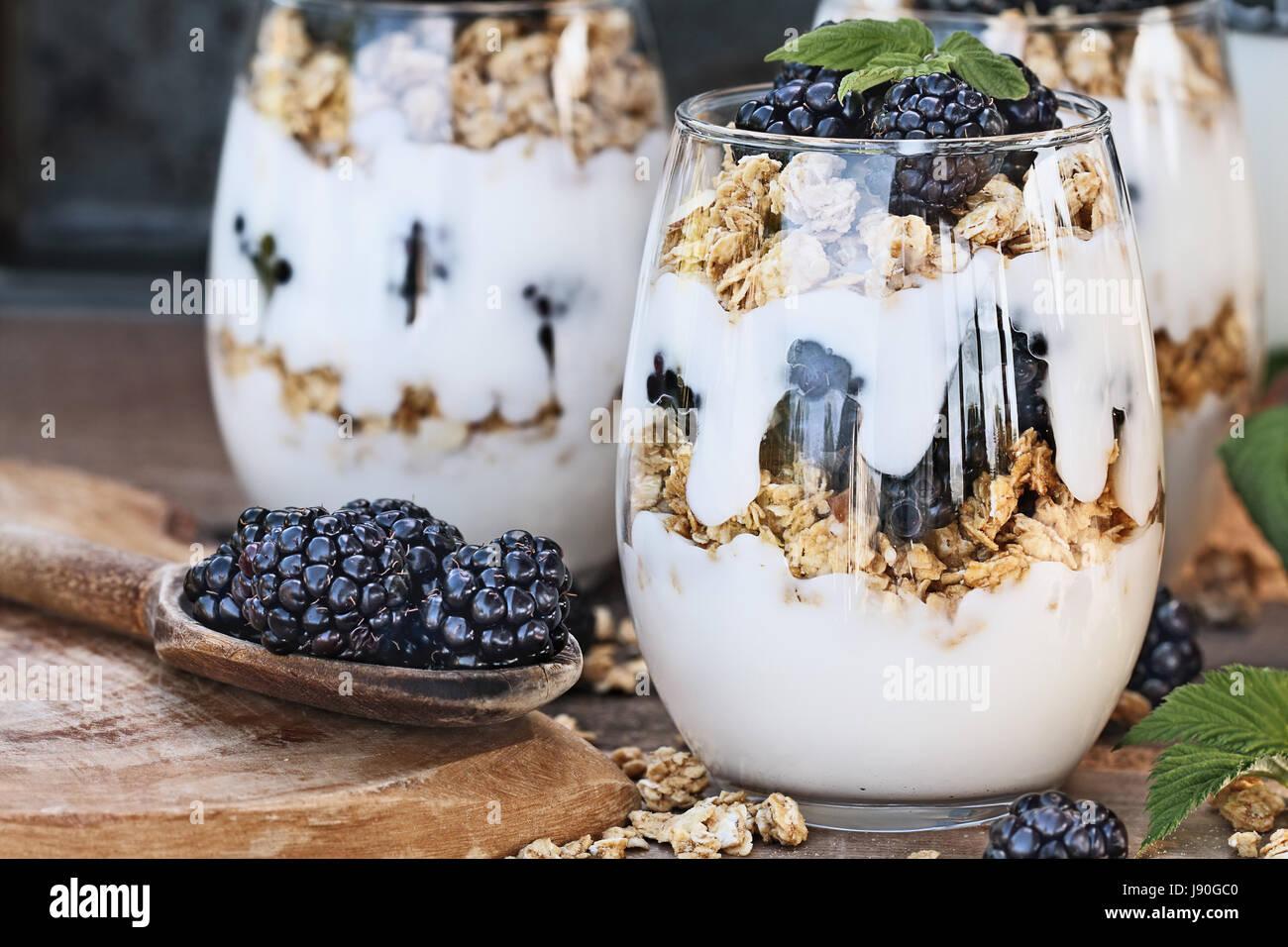Les parfaits Blackberry fait avec du yaourt grec, granola et de mûres fraîches. L'extrême profondeur Photo Stock