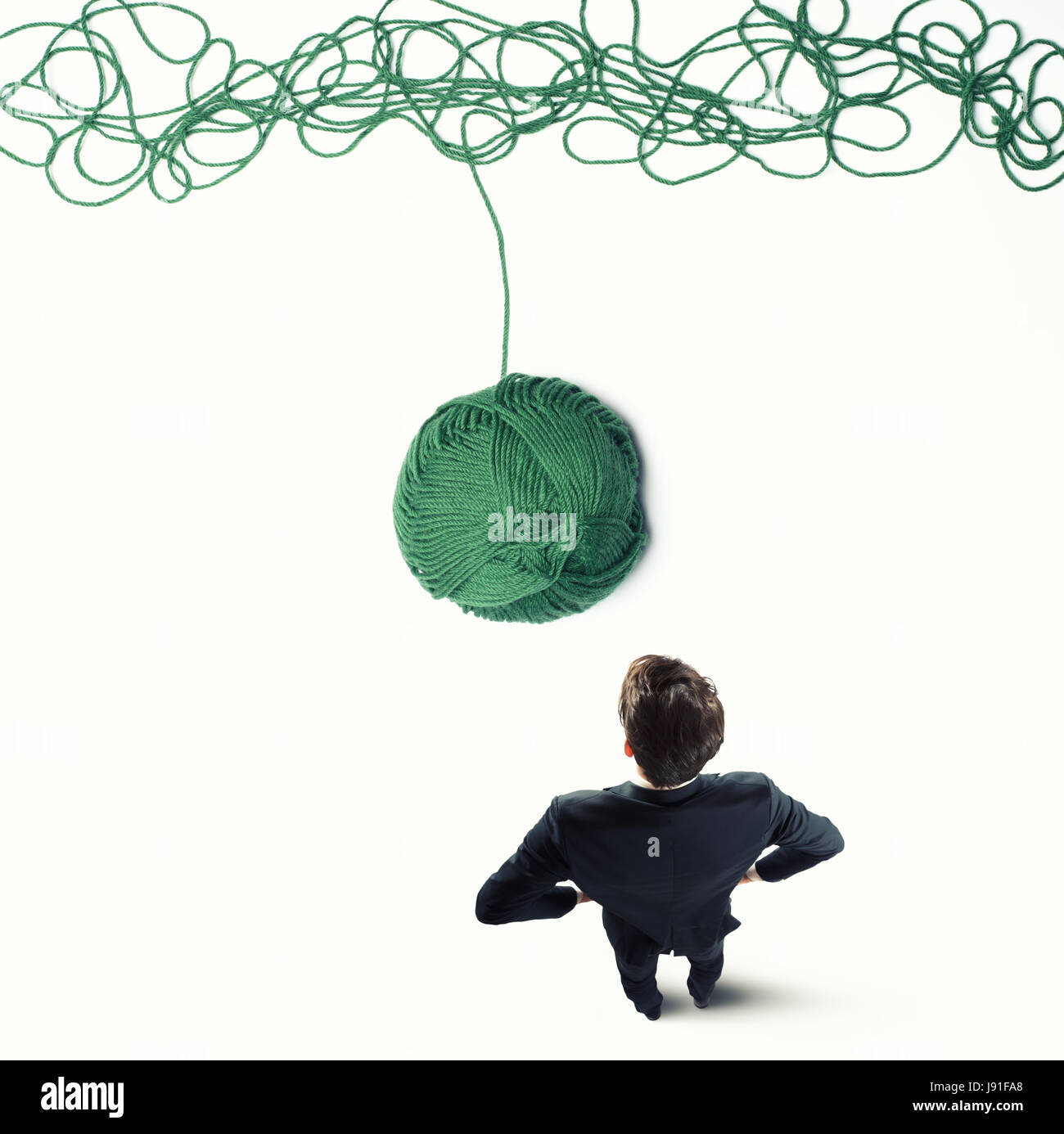 Concept de solution et de l'innovation avec la laine de ballons Photo Stock