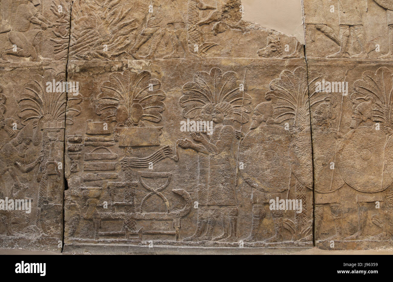 La campagne du sud de l'Irak. Butin de guerre. L'assyrien, 640-620 BC. Ninive, South-West Palace, de l'Iraq. Photo Stock
