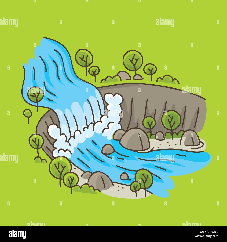 Un Dessin Anime Cascade Dans Un Paysage Naturel Et Lumineux Image Vectorielle Stock Alamy