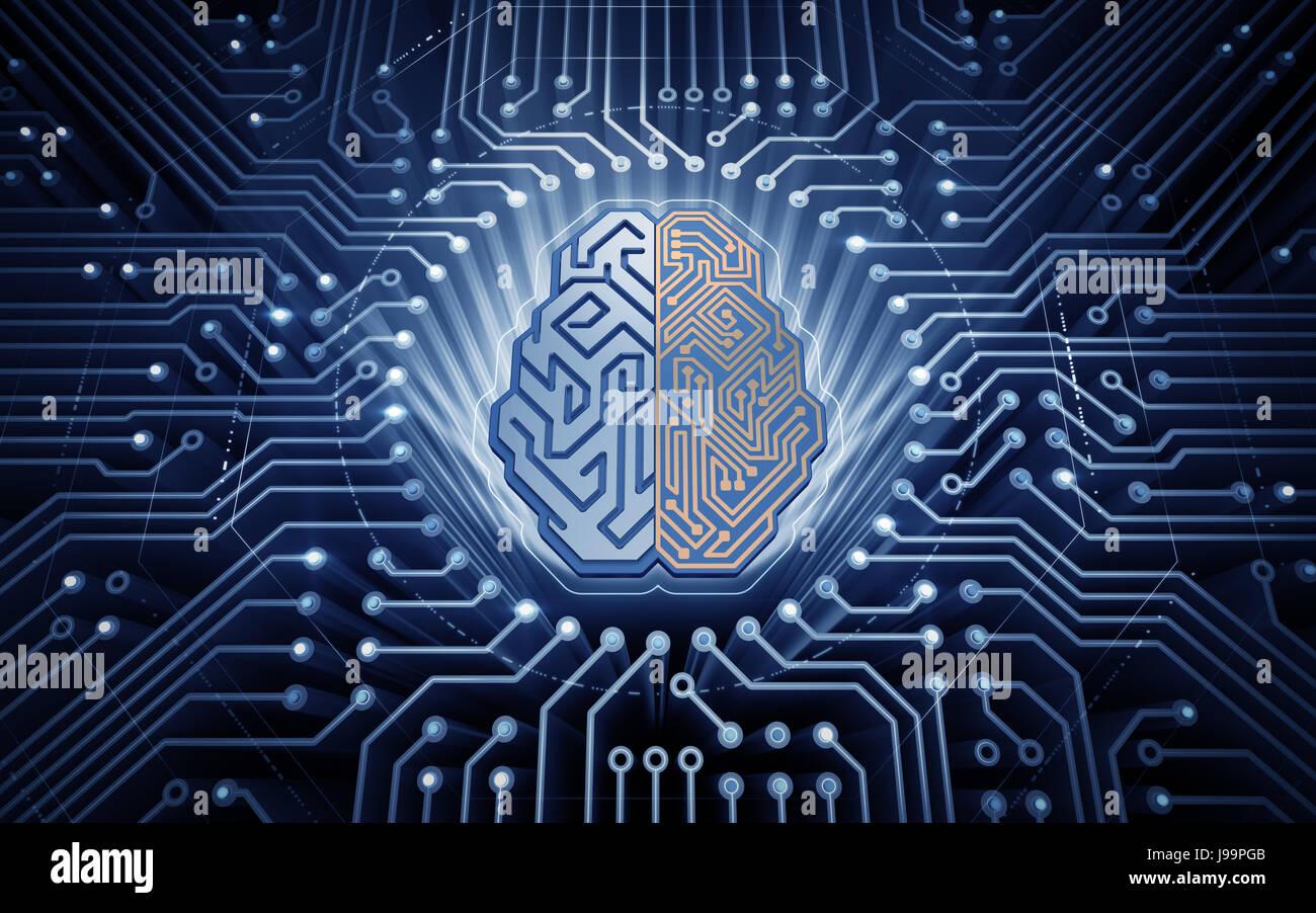Cerveau cybernétique Photo Stock