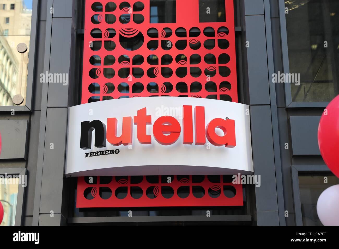 Chicago, USA. 31 mai, 2017. Photo prise le 31 mai 2017, montre le logo de Nutella Cafe à Chicago, aux États Photo Stock