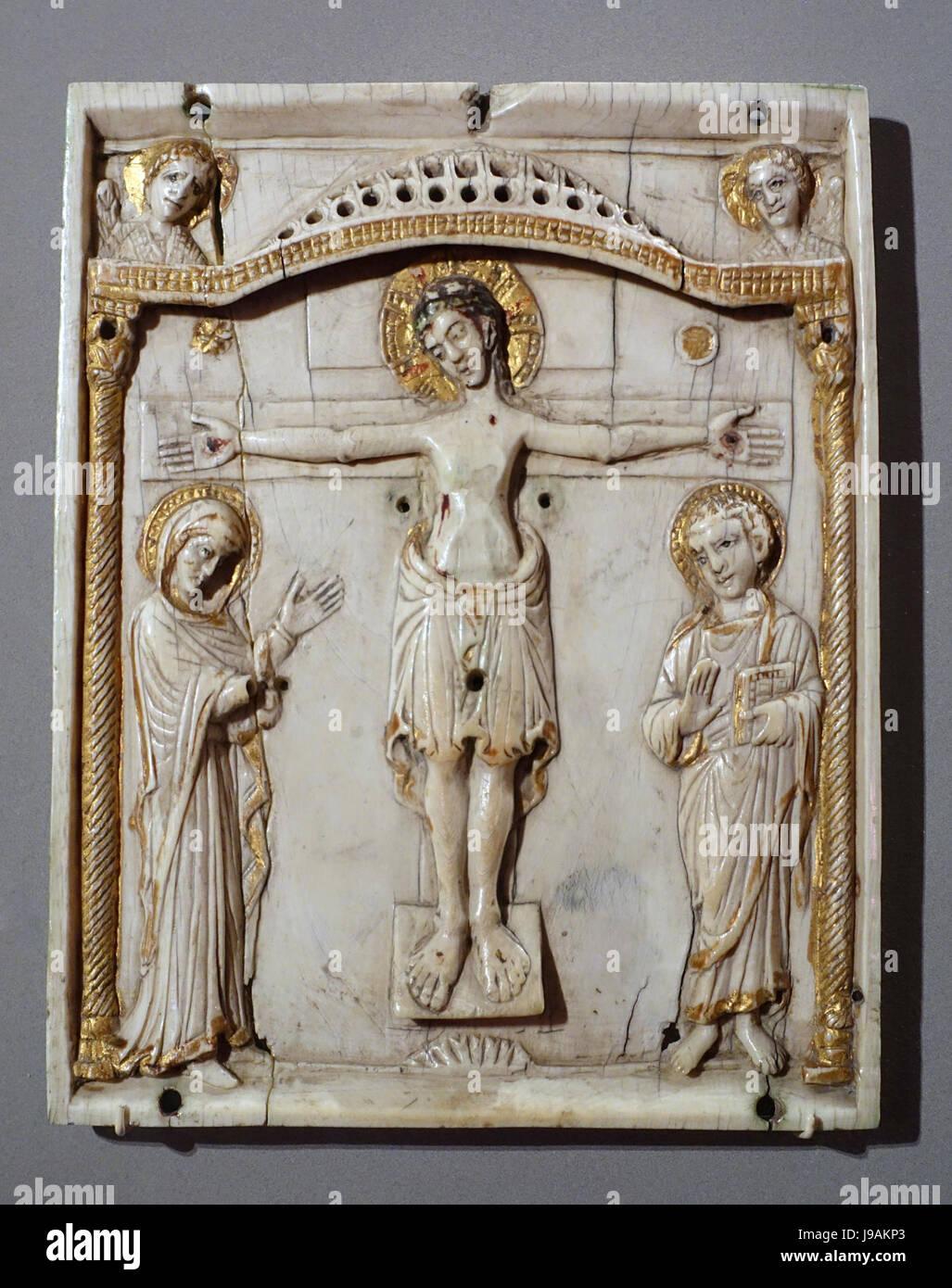 Soulagement avec la Crucifixion, l'Est de l'Empire romain, 10e siècle, de l'ivoire Musée Bode Photo Stock