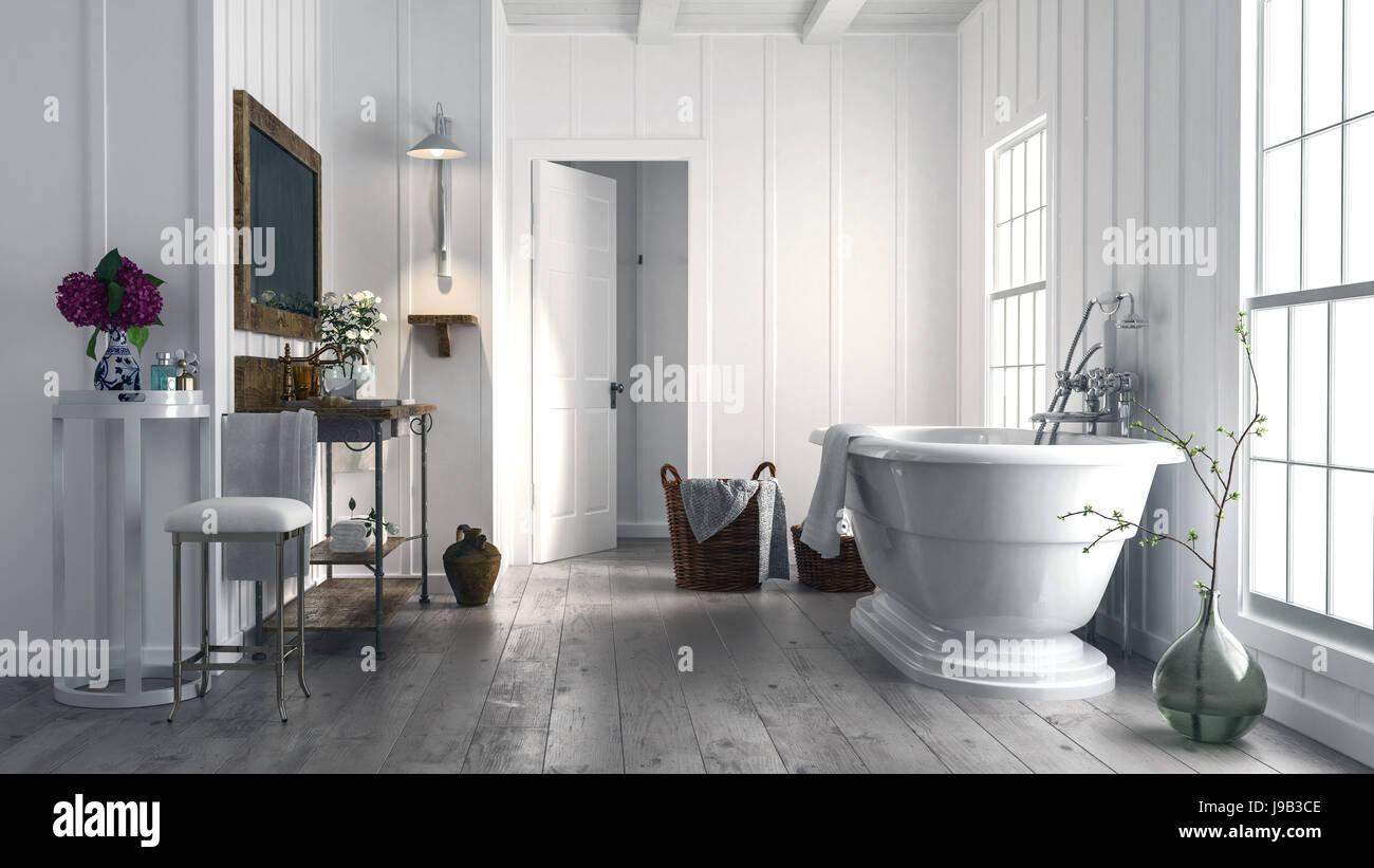 Salle de bains avec rustique à la mode élégante baignoire sur pieds ...